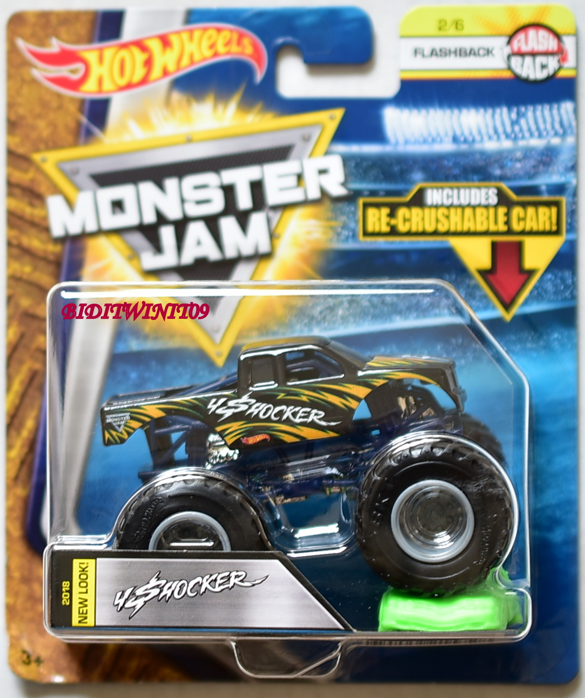 HOT WHEELS 2018 MONSTER JAM FLASHBACK INCLUDES RE-CRUSHABLE CAR SHOCKER #2/6