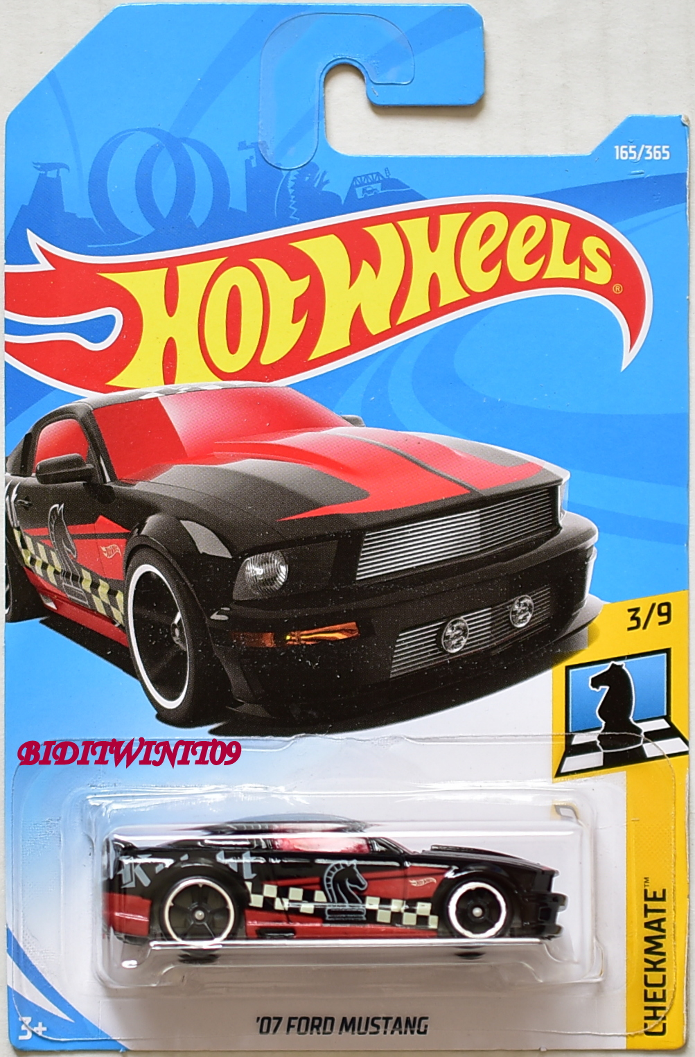 HOT WHEELS 2018 CHECKMATE '07 FORD MUSTANG #3/9 BLACK
