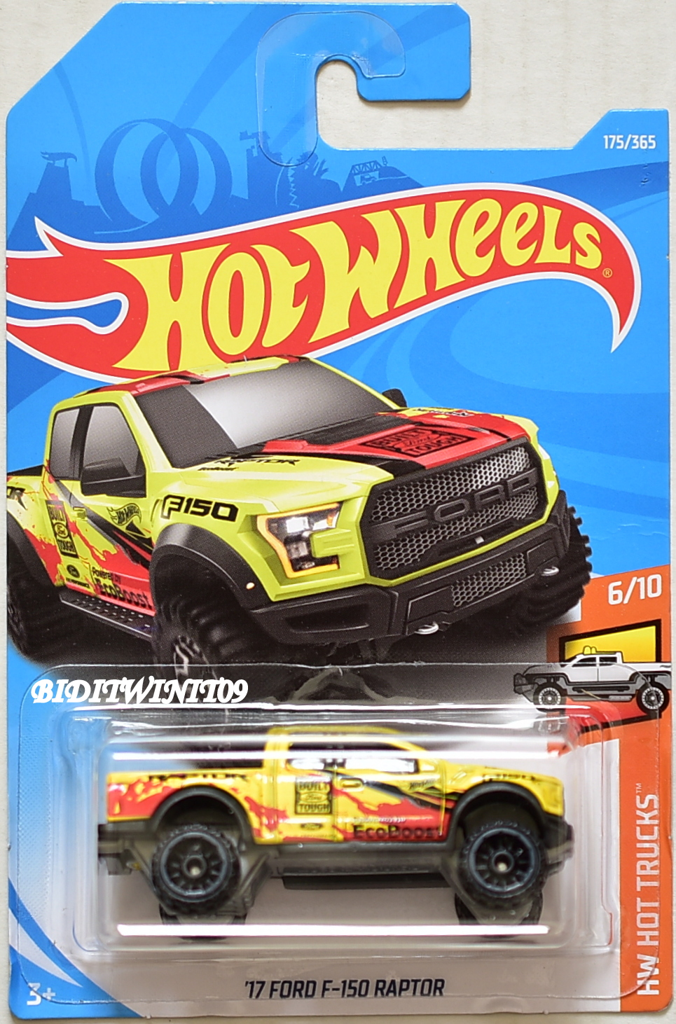 hot wheels 2018 hw hot trucks 39 17 ford f 150 raptor 6 10 yellow 0008430. Black Bedroom Furniture Sets. Home Design Ideas