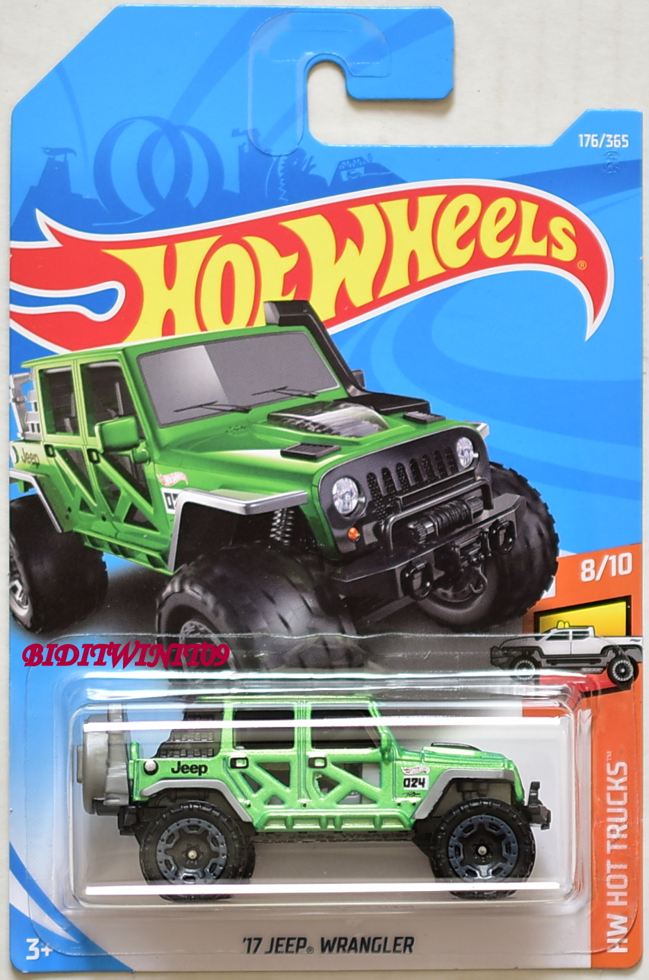 hot wheels 2018 hw hot trucks 39 17 jeep wrangler green e 0008439. Black Bedroom Furniture Sets. Home Design Ideas