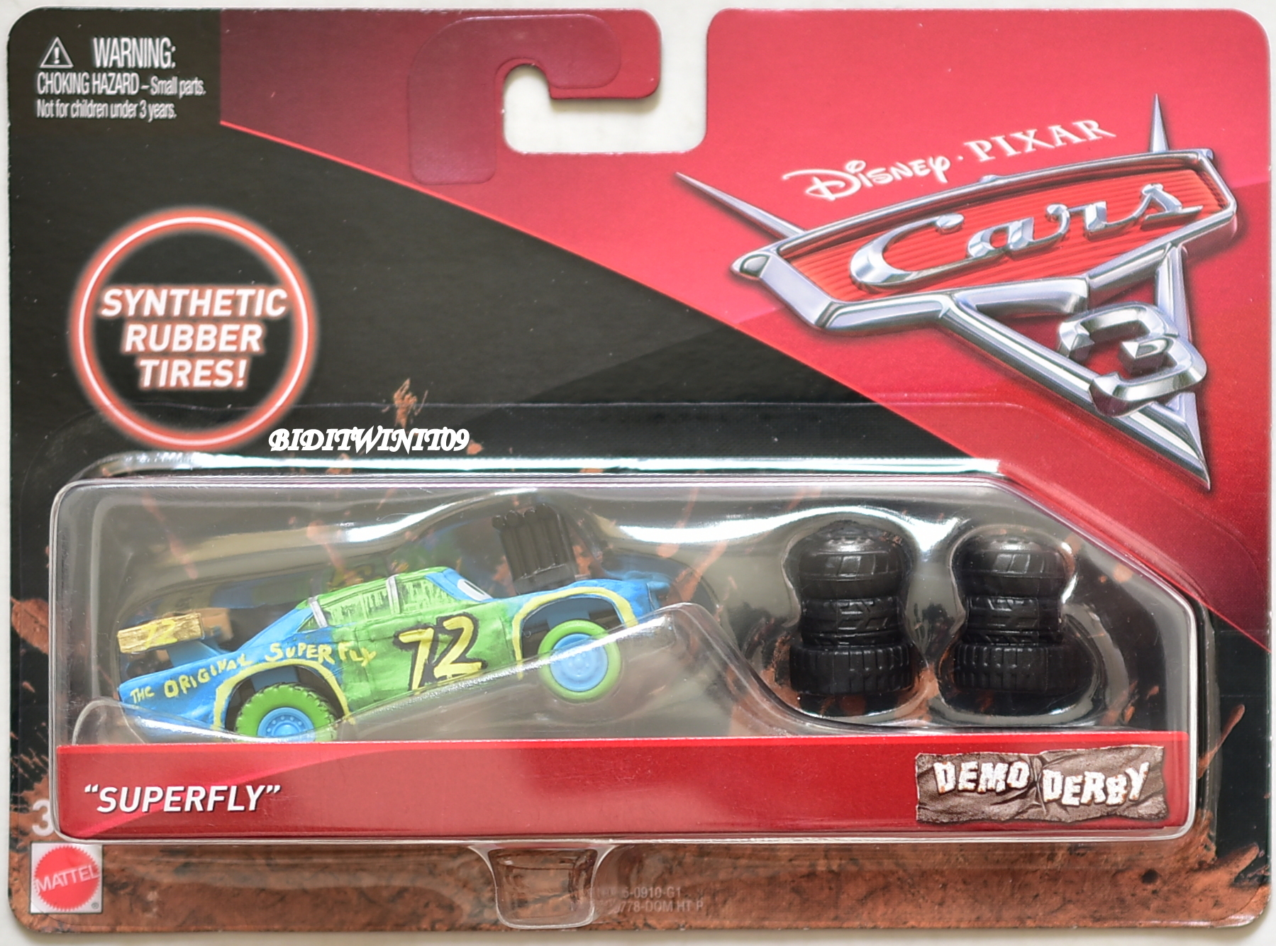 DISNEY PIXAR CARS 3 SYNTHETIC RUBBER TIRES SUPERFLY DEMO DERBY