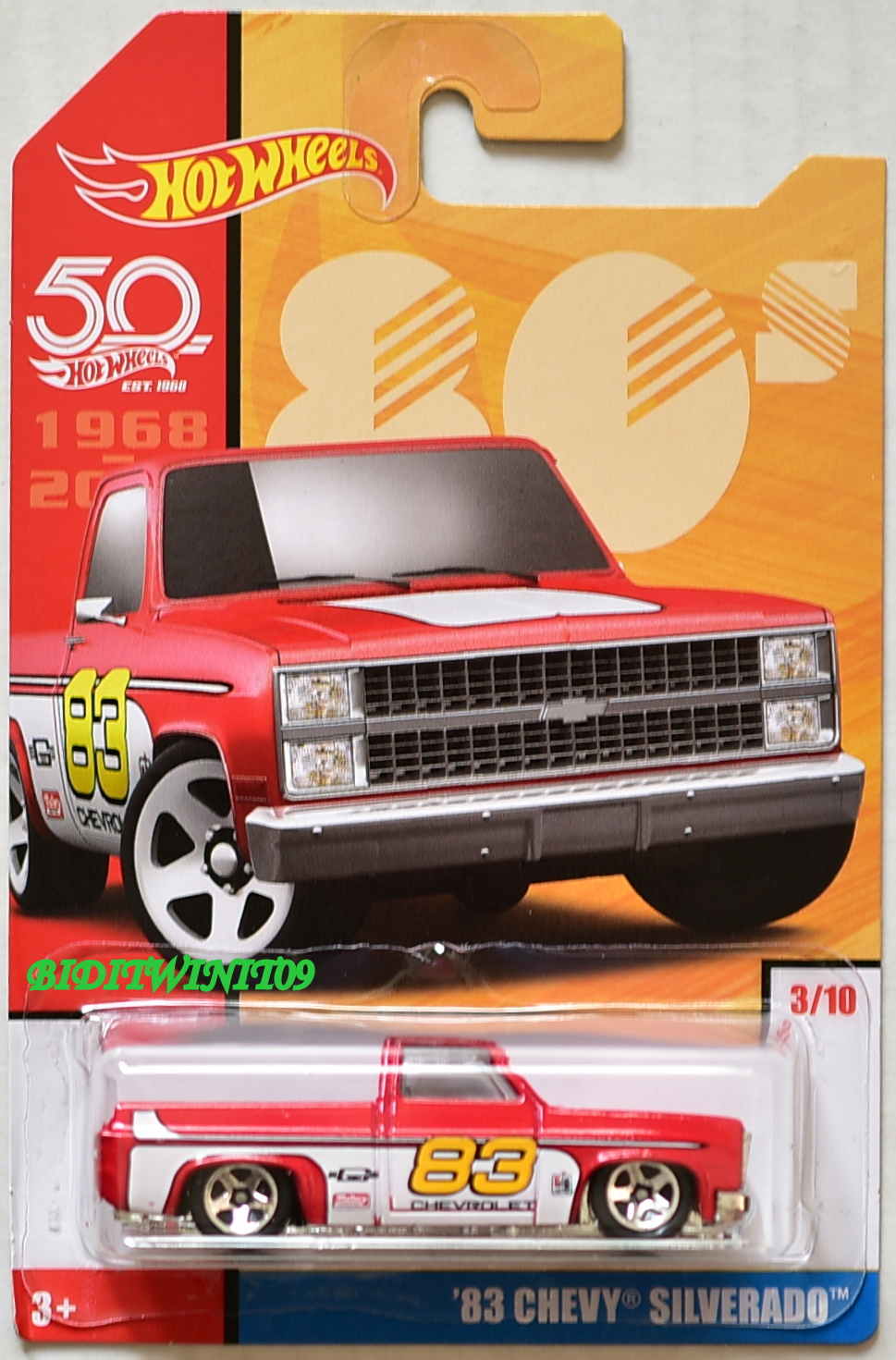 HOT WHEELS 2018 THROWBACK DECADES 50TH ANNIVERSARY '83 CHEVY SILVERADO #3/10 RED