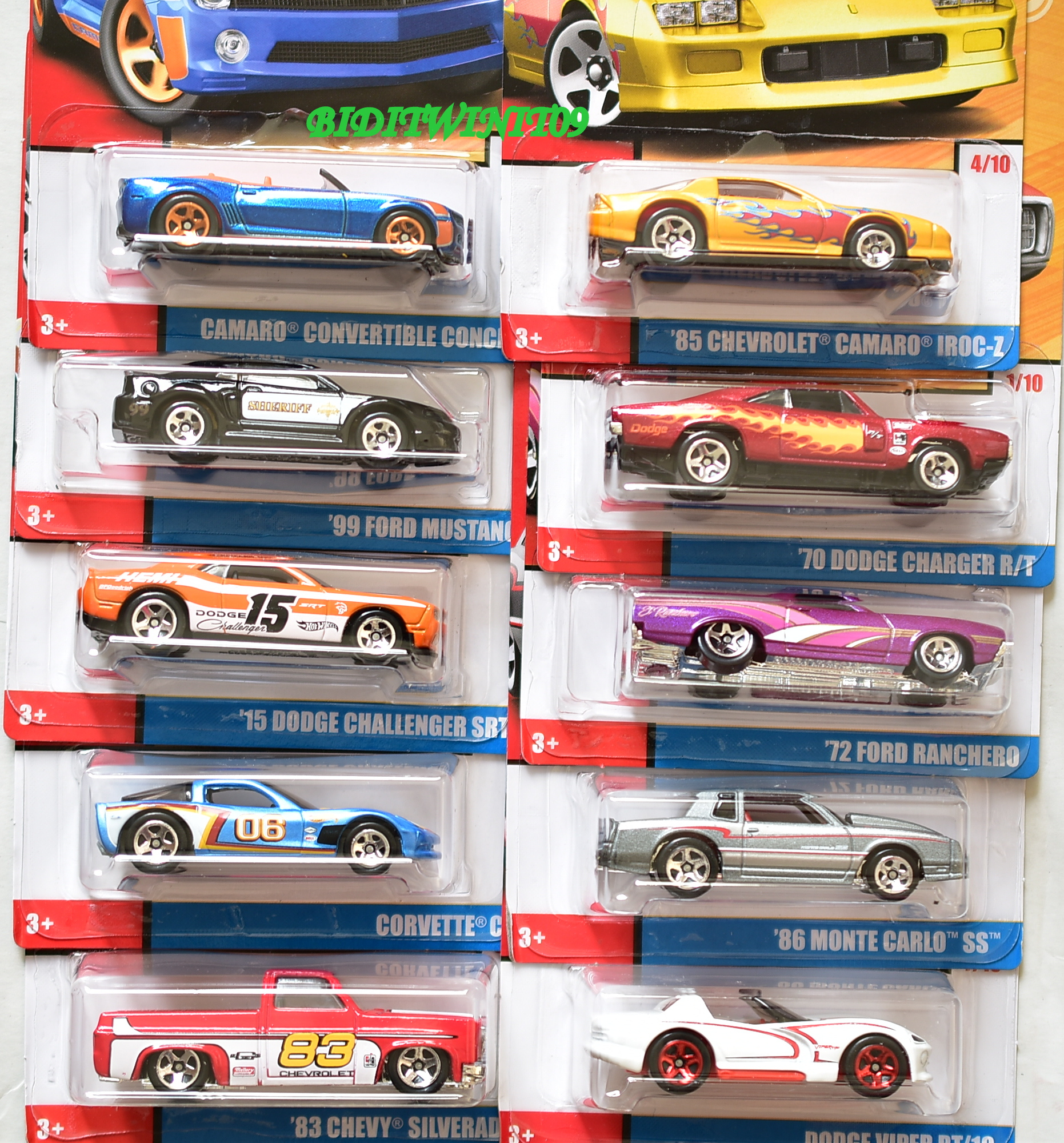 HOT WHEELS 2018 50 YEARS THROWBACK SET OF 10 SILVERADO MUSTANG CORVETTE