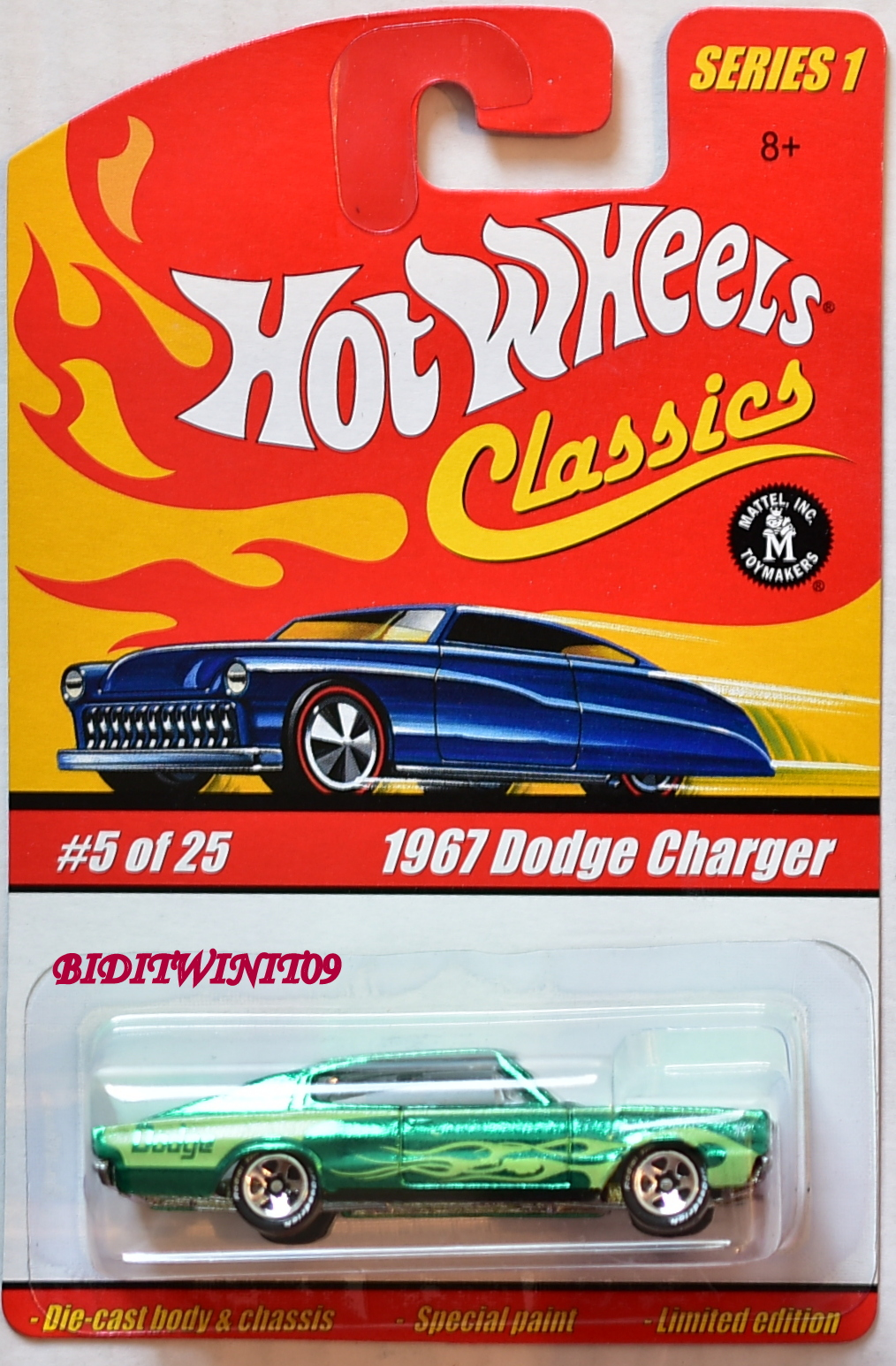 HOT WHEELS CLASSICS SERIES 1 #5/25 1967 DODGE CHARGER GREEN