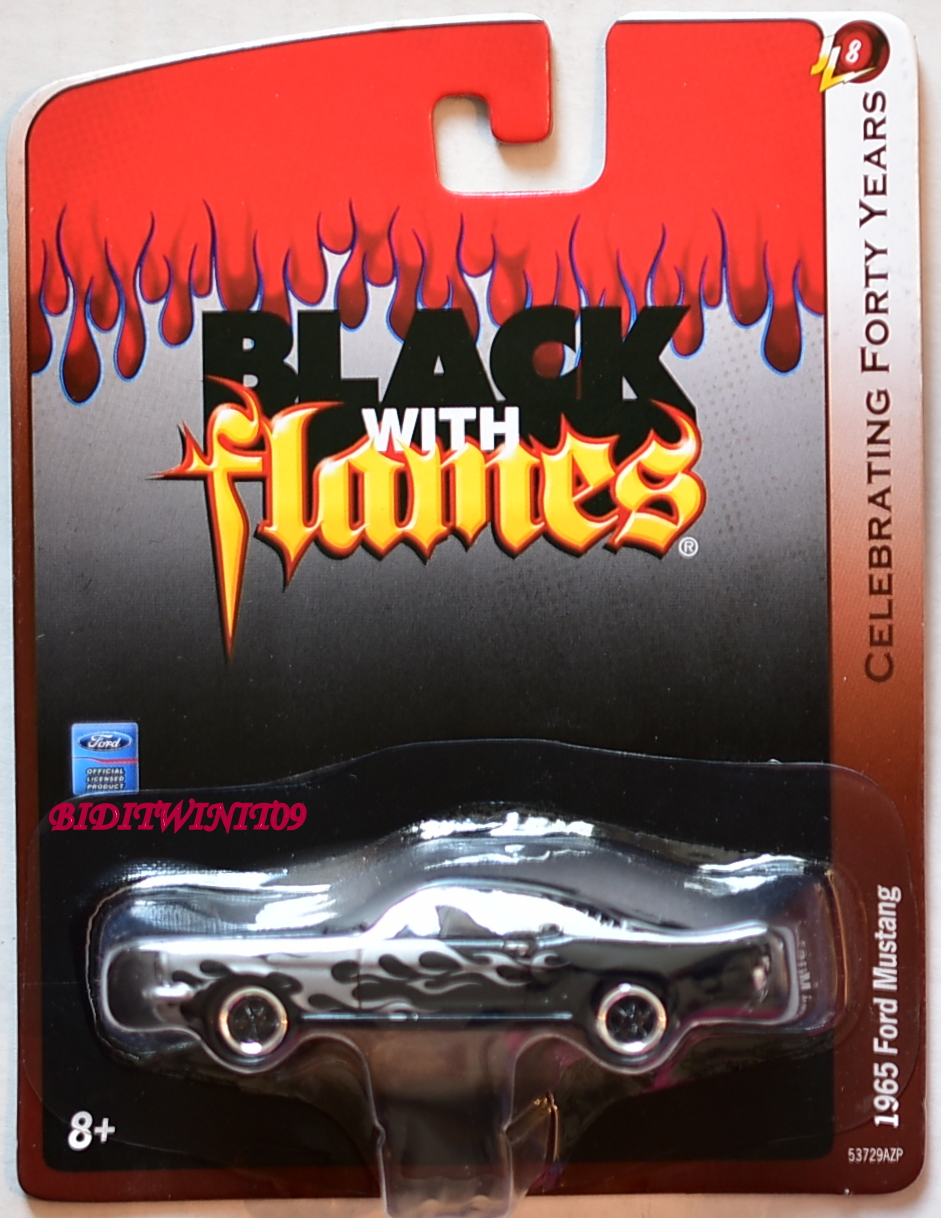 JOHNNY LIGHTNING BLACK WITH FLAMES 1965 FORD MUSTANG JL8 E+