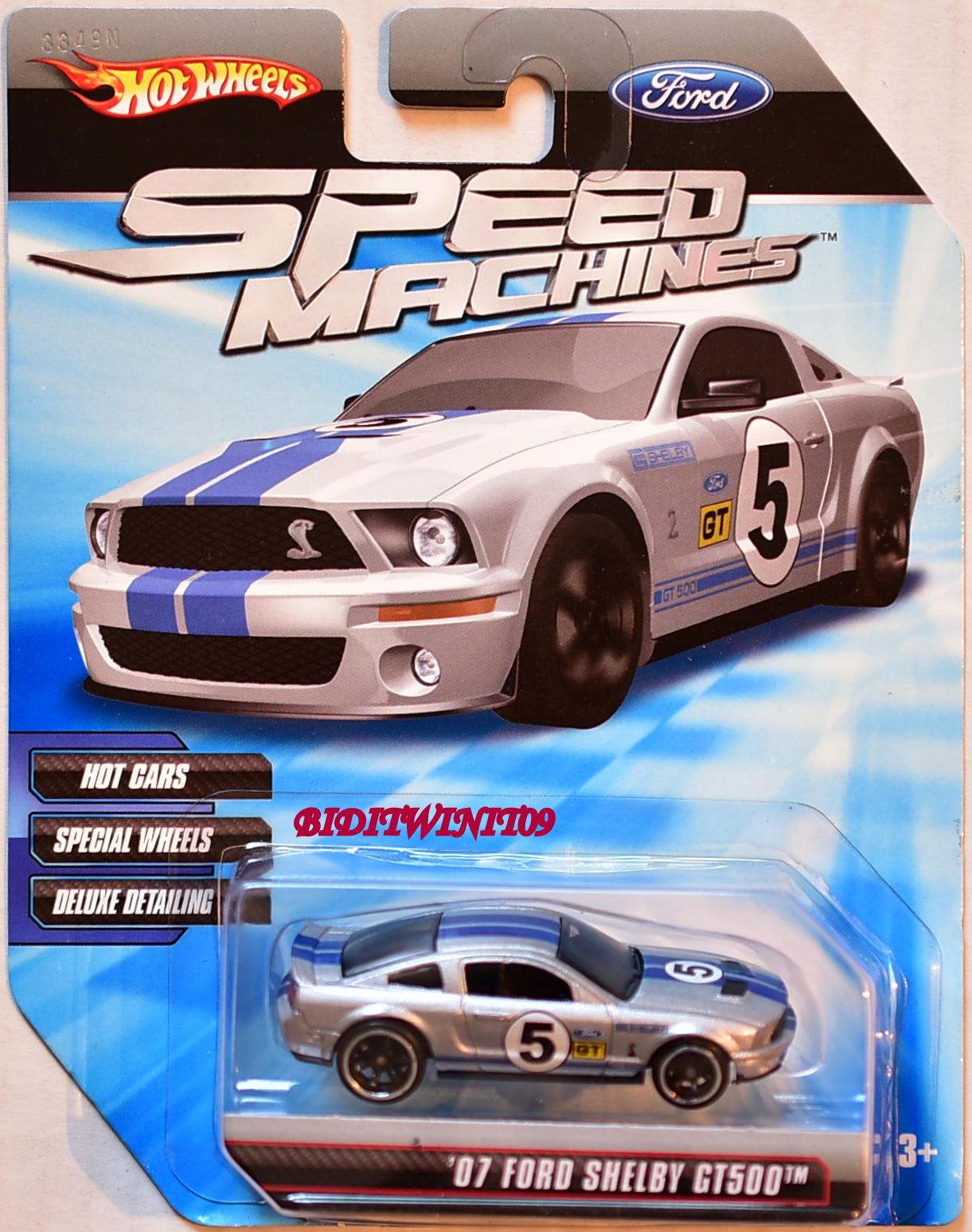 HOT WHEELS SPEED MACHINES '07 FORD SHELBY GT500 SILVER E+
