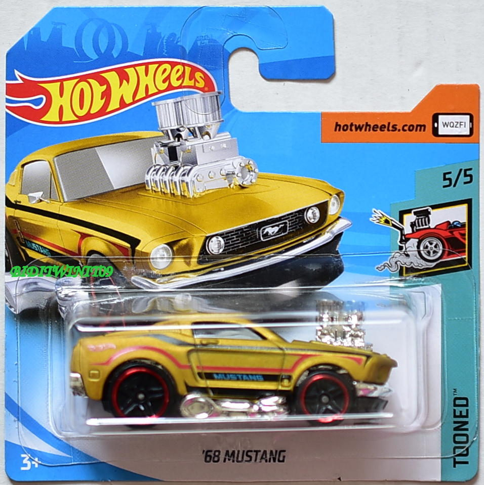 HOT WHEELS 2018 TOONED '68 MUSTANG #5/5 GOLD SHORT CARD