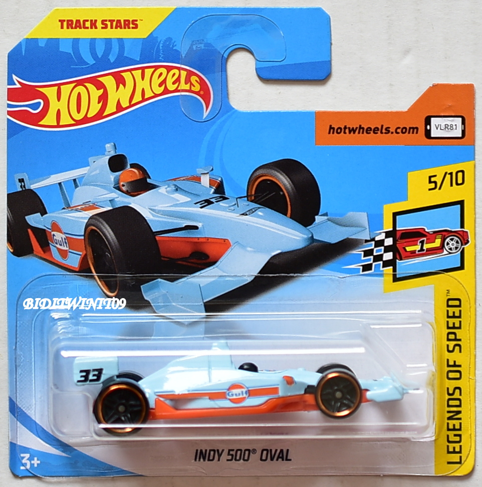 HOT WHEELS 2018 LEGENDS OF SPEED INDY 500 OVAL GULF SHORT CARD