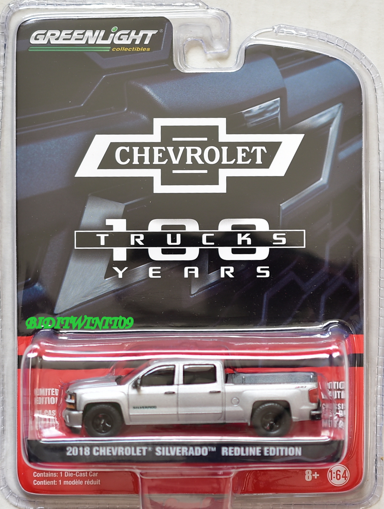 GREENLIGHT ANNIVERSARY 2018 CHEVROLET SILVERADO REDLINE EDITION GREEN MACHINE