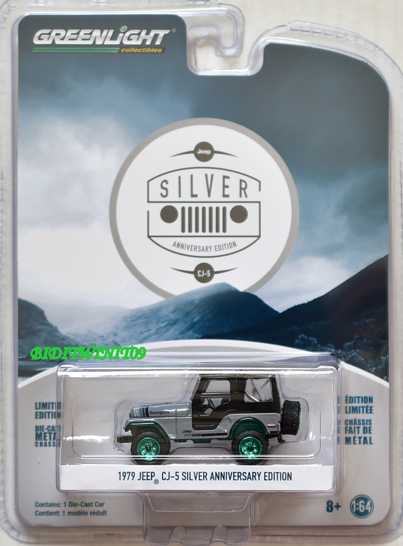 GREENLIGHT 1979 JEEP CJ-5 SILVER ANNIVERSARY EDITION GREEN MACHINE