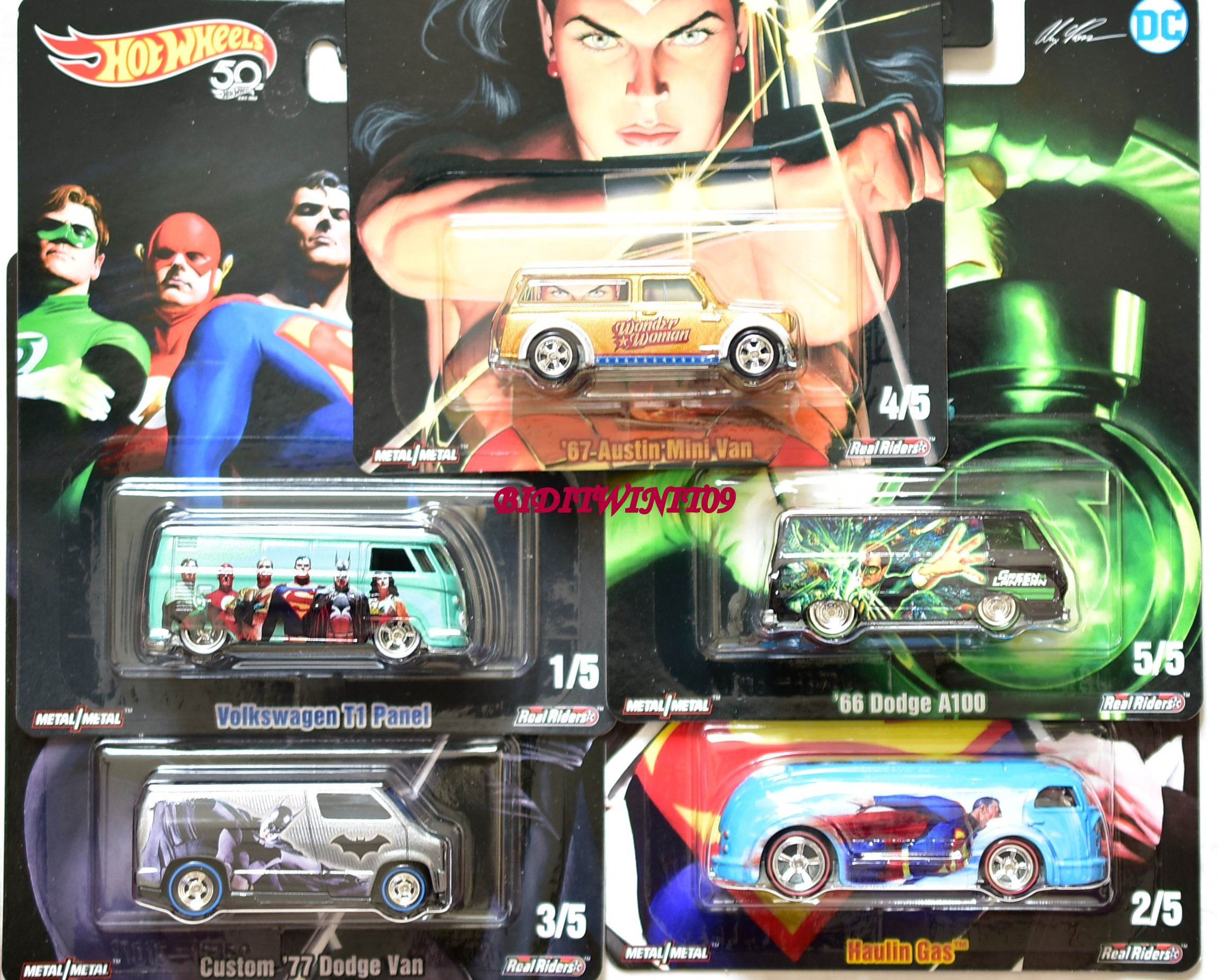 HOT WHEELS POP CULTURE 2018 DC SET OF 5 VW DODGE AUSTIN MINI VAN