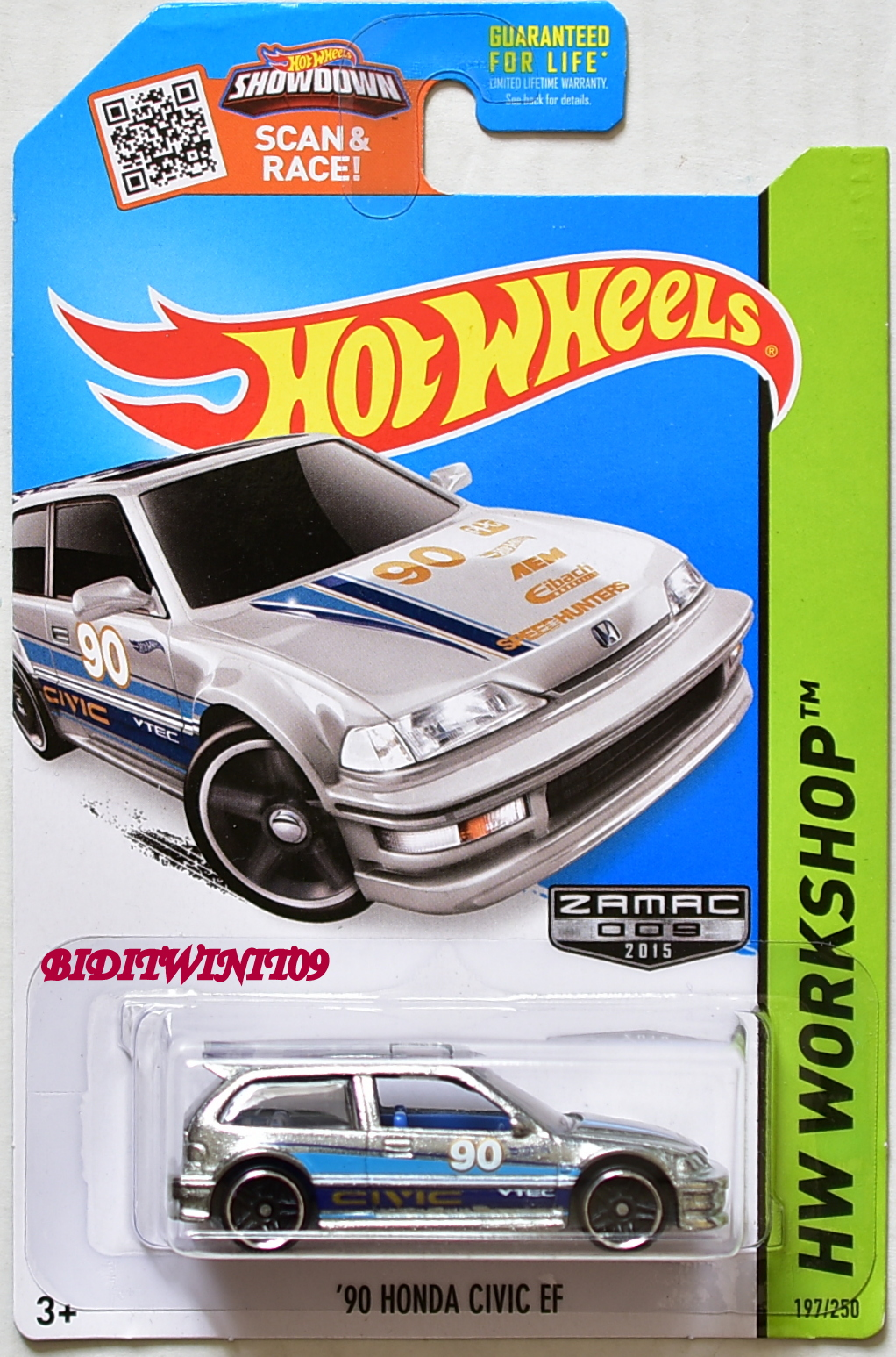 HOT WHEELS 2015 HW WORKSHOP '90 HONDA CIVIC EF ZAMAC