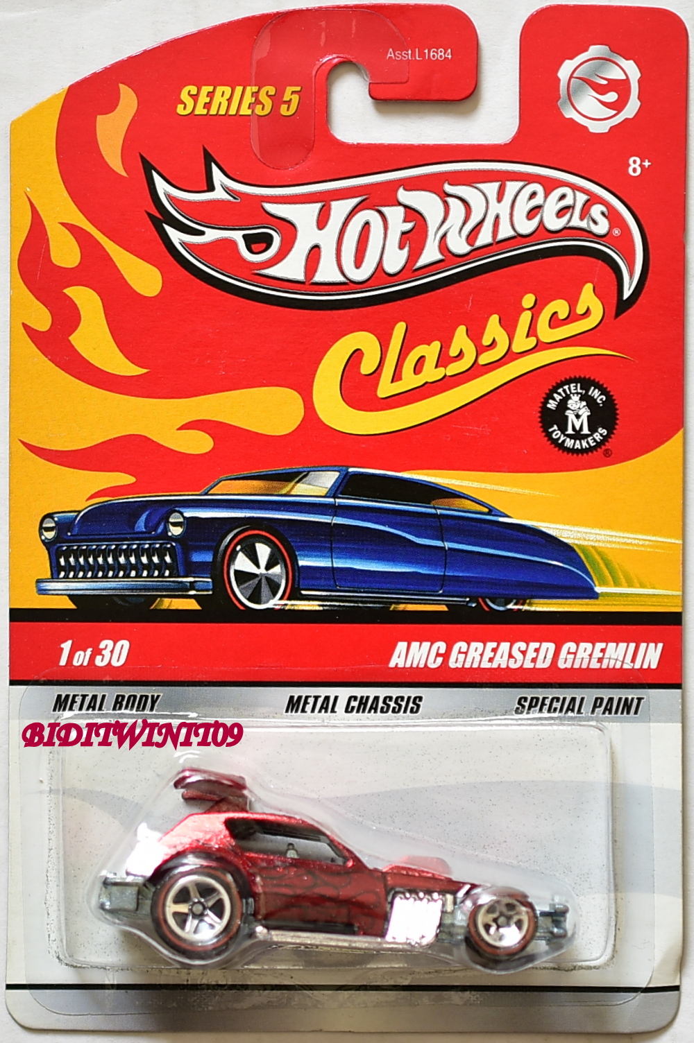 HOT WHEELS CLASSICS SERIES 5 AMC GREASED GREMLIN #1/30 RED E+