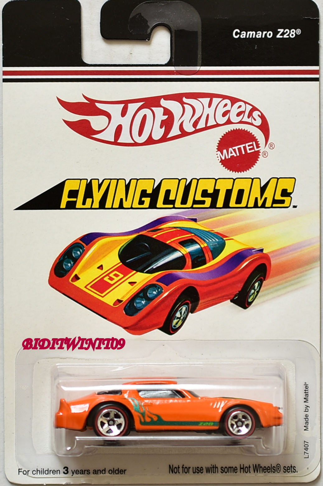 HOT WHEELS 2006 FLYING CUSTOMS CAMARO Z28 L7407 ORANGE