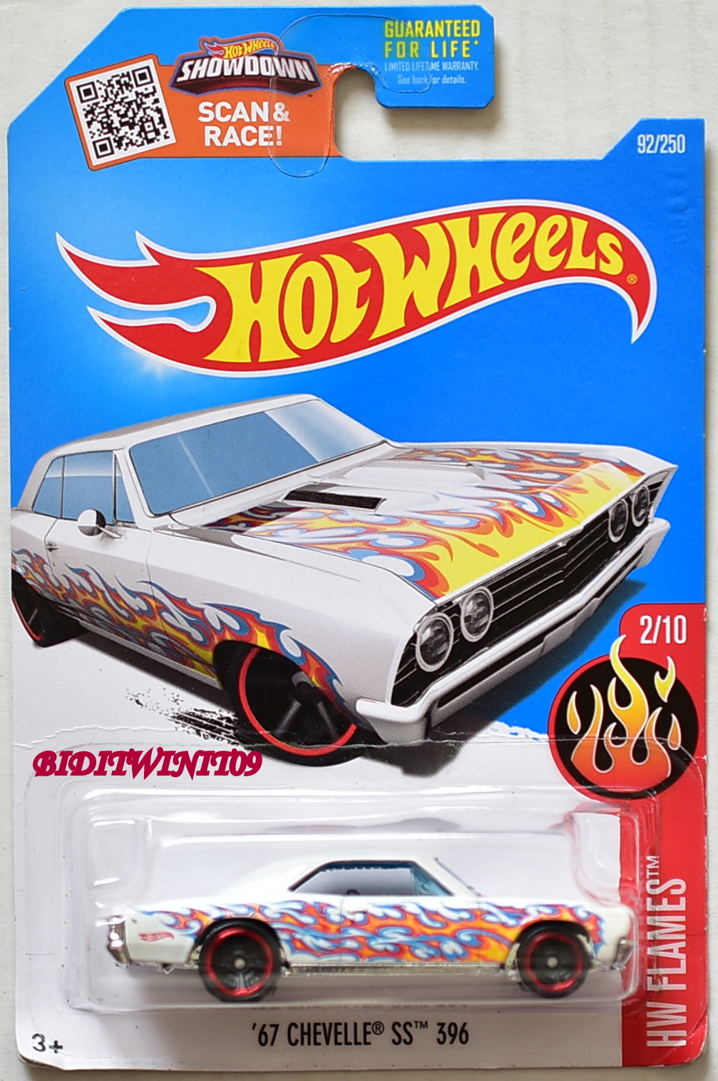 HOT WHEELS 2016 TOY R US EXCLUSIVE '67 CHEVELLE SS 396 #2/10 WHITE