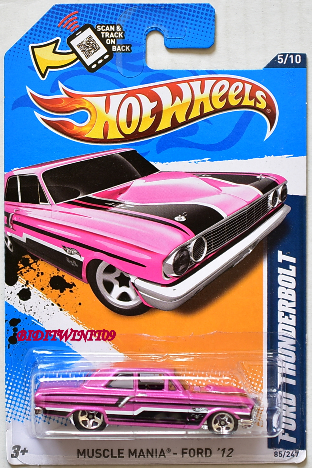 HOT WHEELS 2012 MUSCLE MANIA FORD THUNDERBOLT PINK