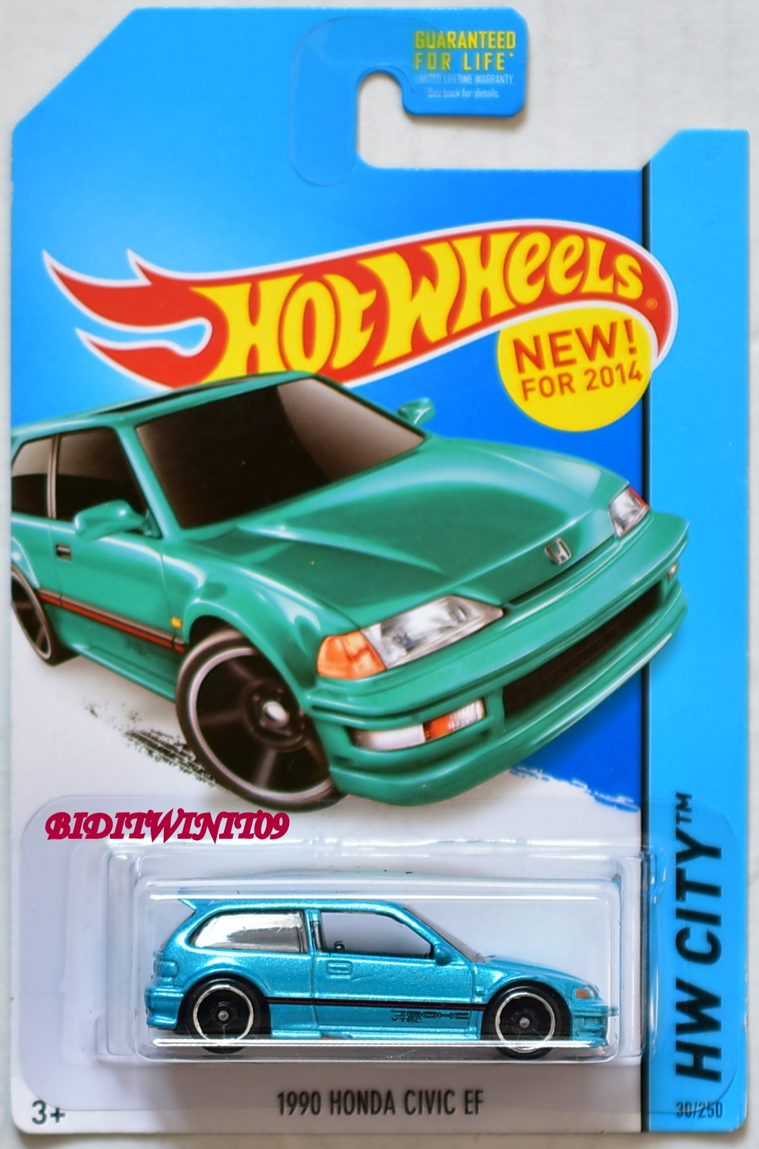 HOT WHEELS 2014 NIGHT BURNERZ 1990 HONDA CIVIC EF BLUE
