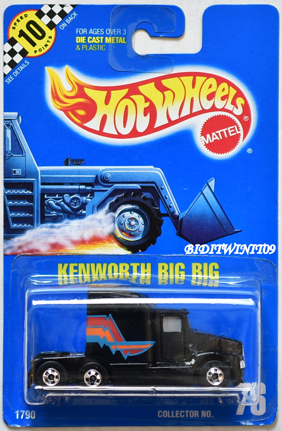 HOT WHEELS 1989 KENWORTH BIG RIG BLACK #76