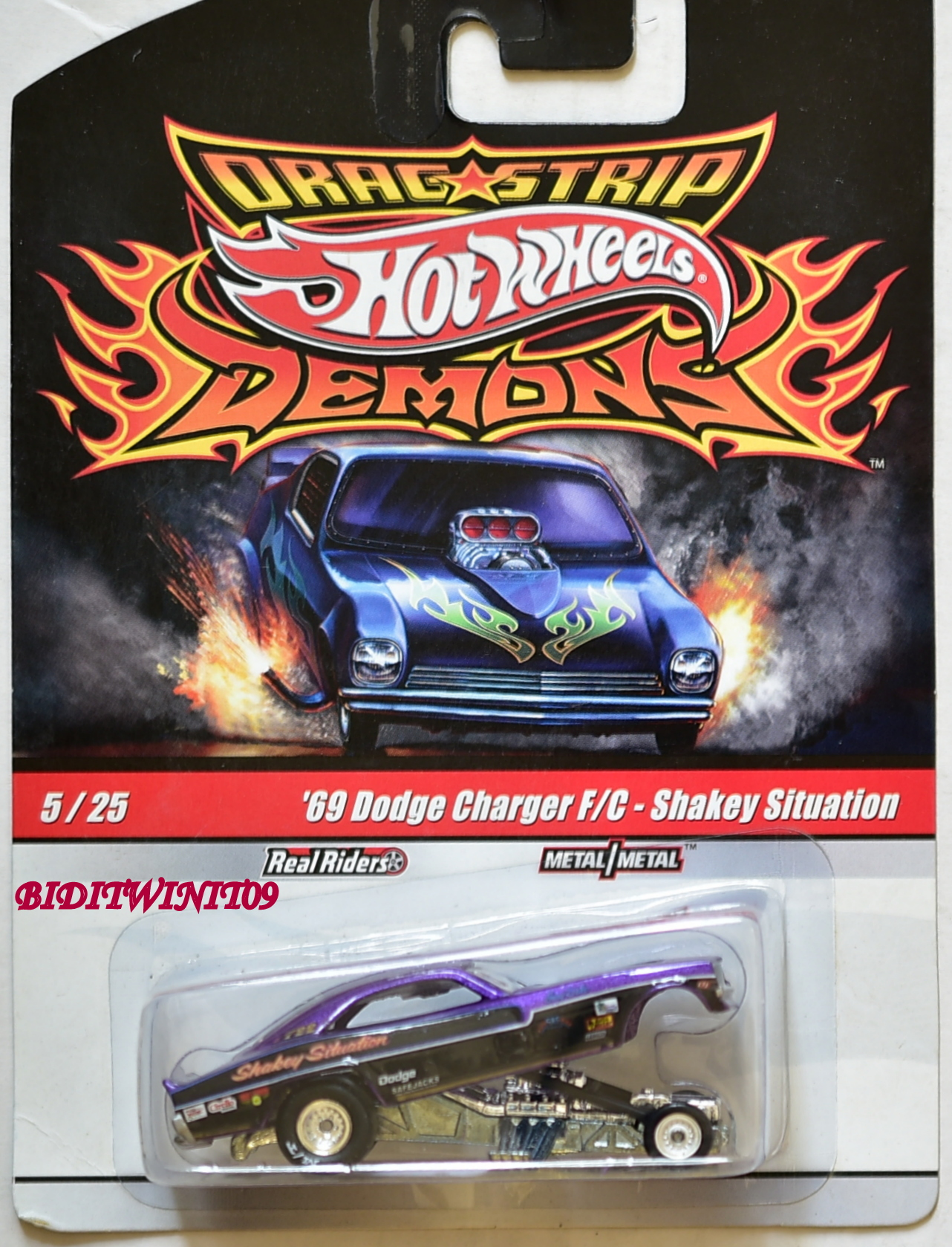 HOT WHEELS DRAG STRIP DEMONS '69 DODGE CHARGER F/C - SHAKEY SITUATION #5/25