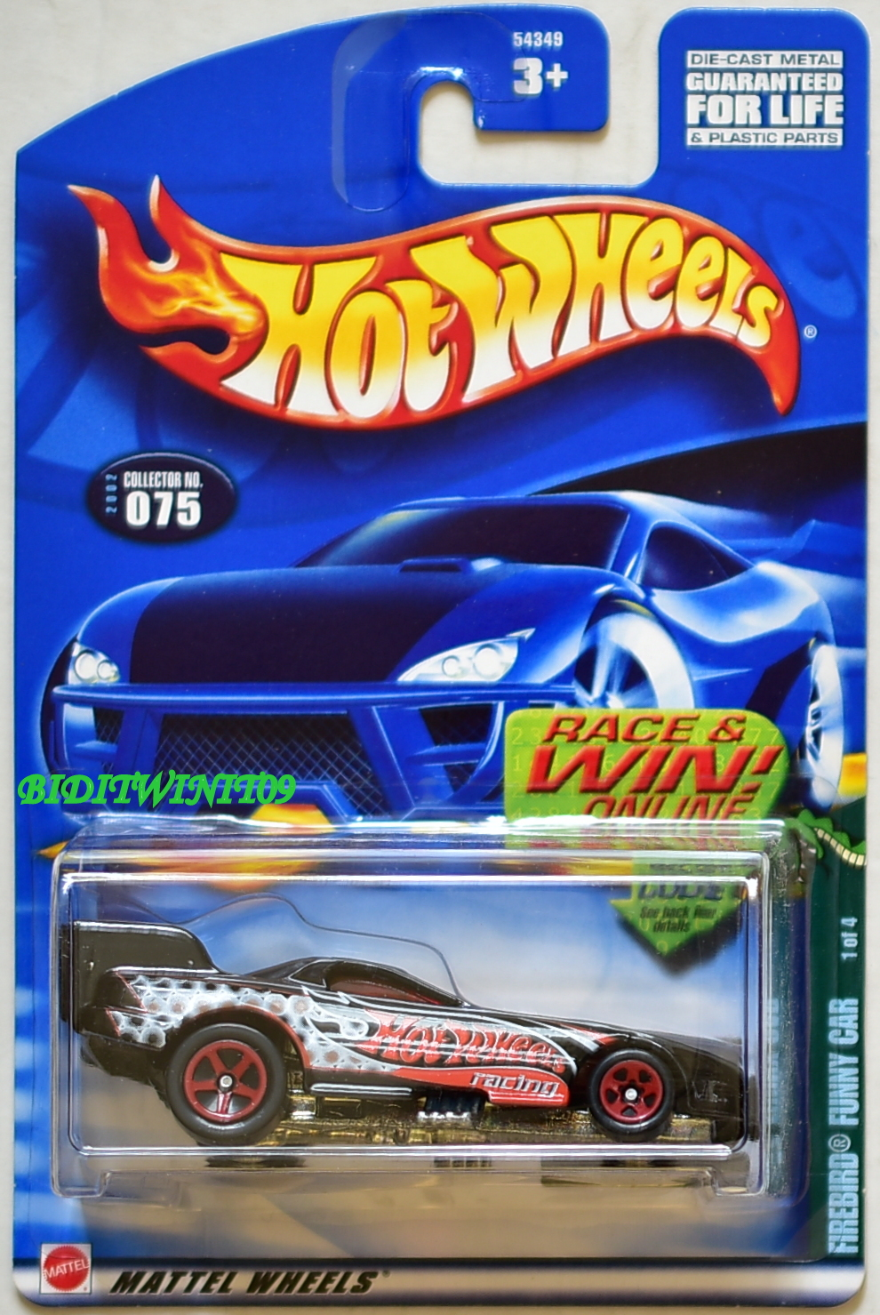 HOT WHEELS 2002 FIREBIRD FUNNY CAR #075 BLACK
