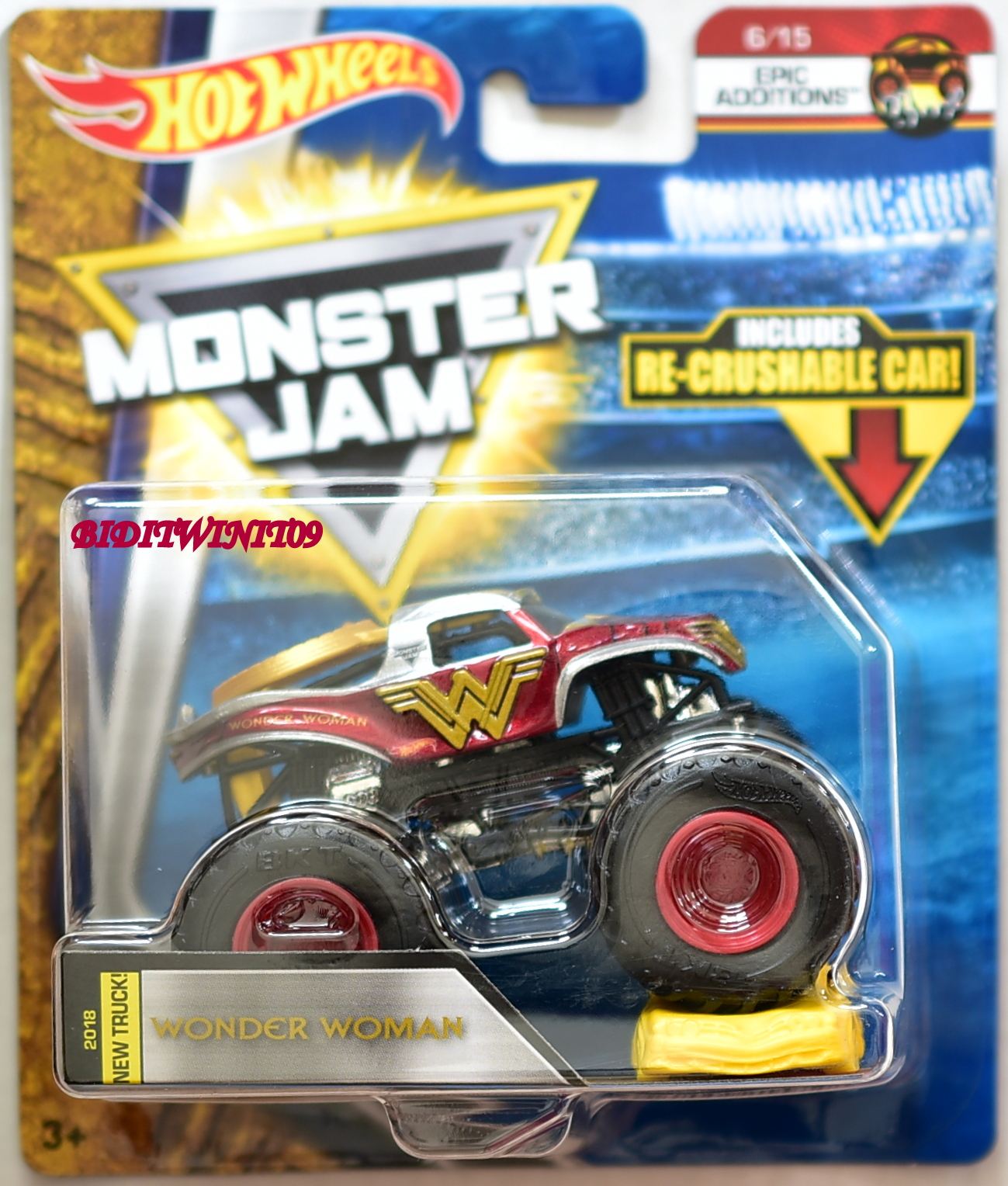 HOT WHEELS 2018 MONSTER JAM RE-CRUSHABLE CAR WONDER WOMAN EPIC EDDITIONS