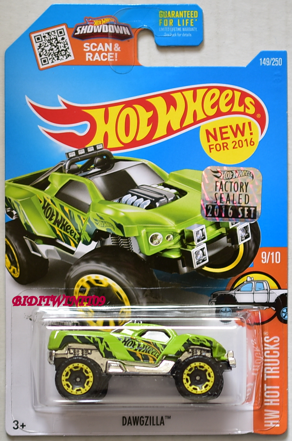 HOT WHEELS 2016 HW HOT TRUCKS DAWGZILLA GREEN FACTORY SEALED E+