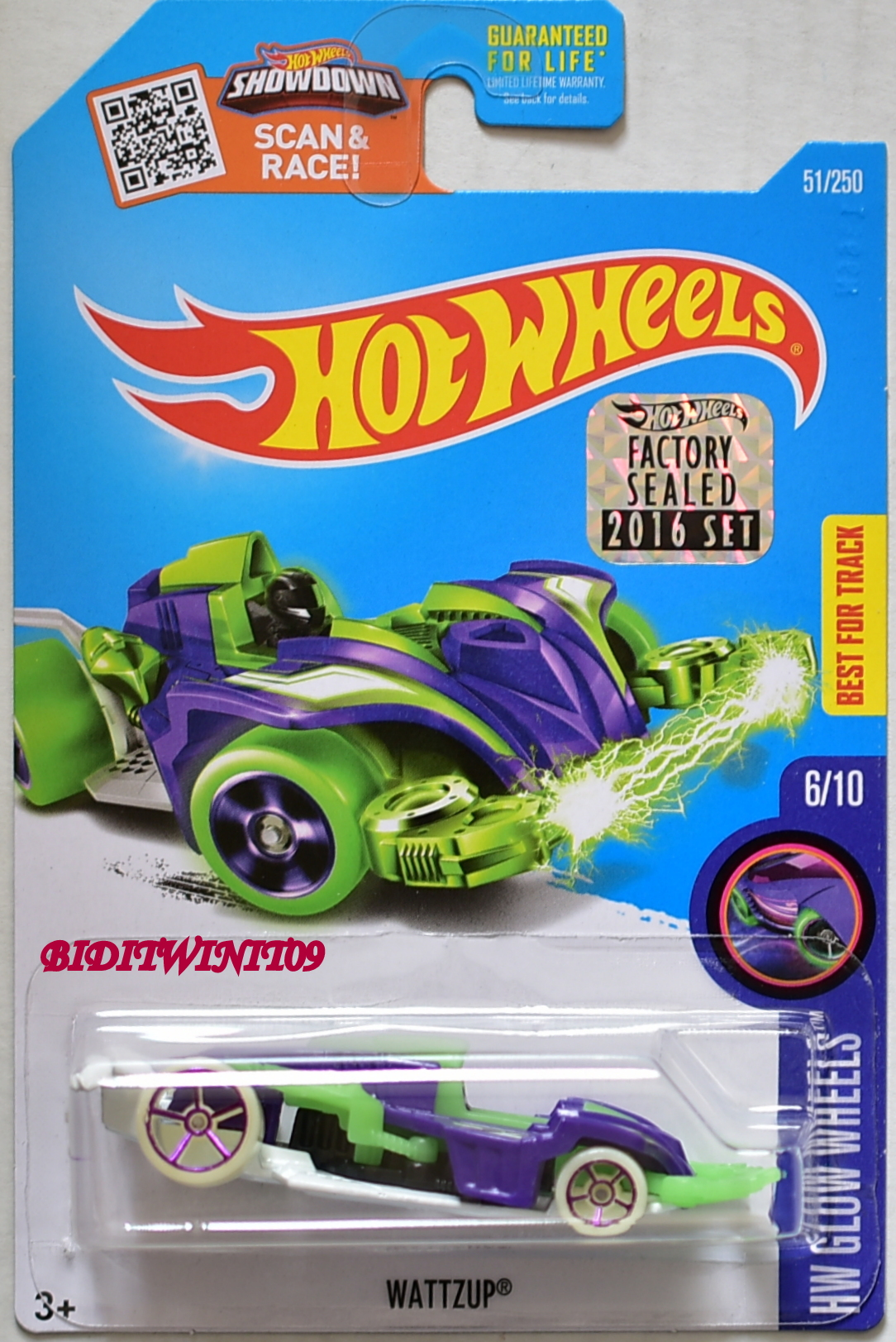 HOT WHEELS 2016 HW GLOW WHEELS WATTZUP #6/10 PURPLE FACTORY SEALED E+