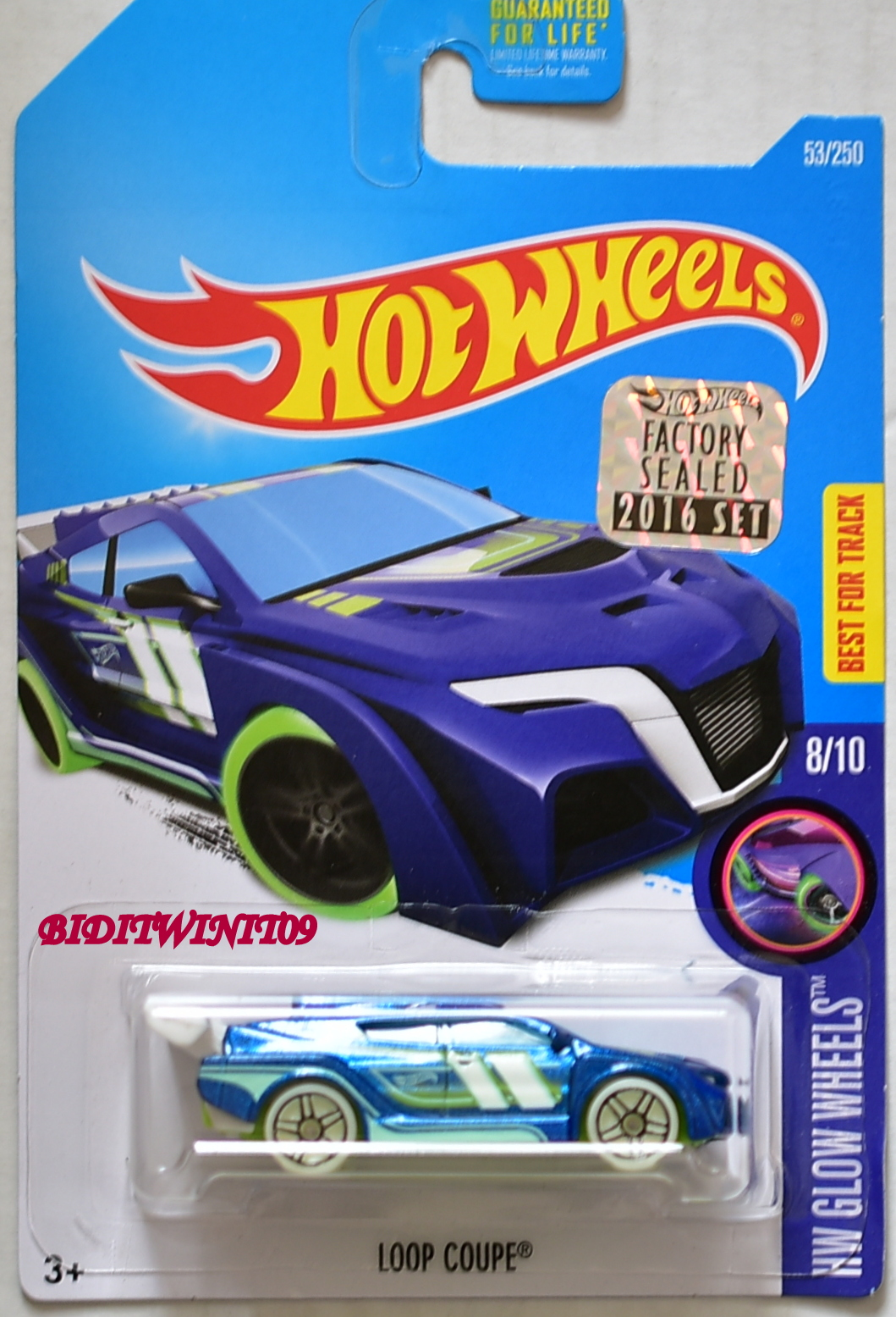 HOT WHEELS 2016 HW GLOW WHEELS LOOP COUPE BLUE FACTORY SEALED