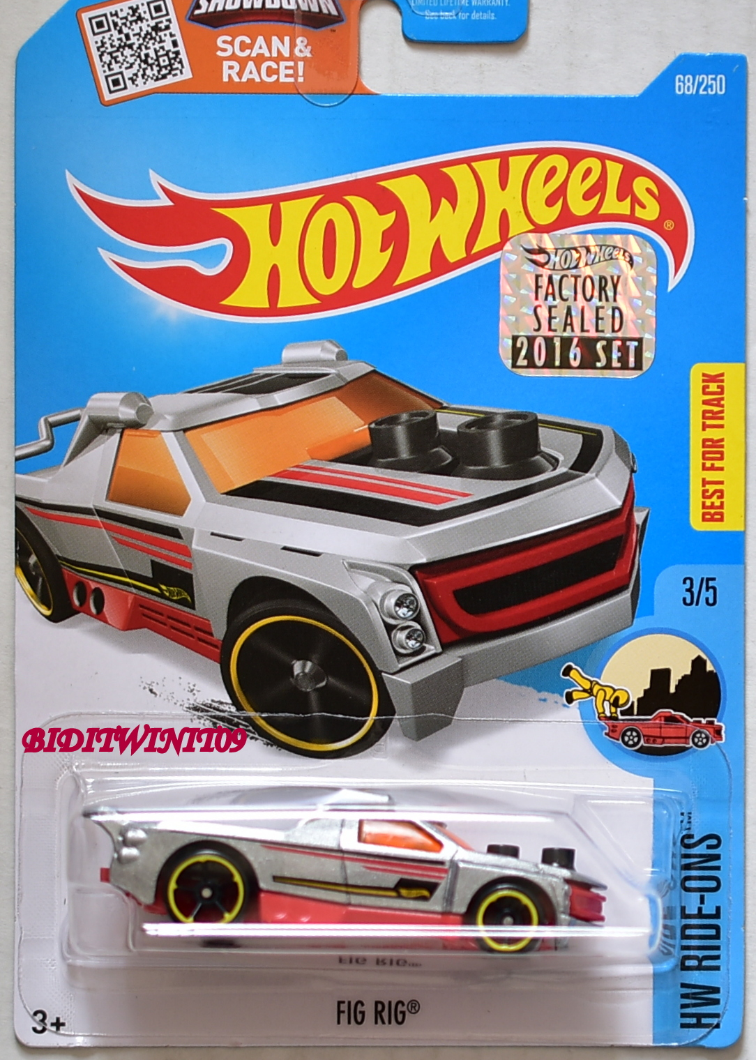 HOT WHEELS 2016 HW RIDE-ONS FIG RIG #3/5 SILVER FACTORY SEALED E+