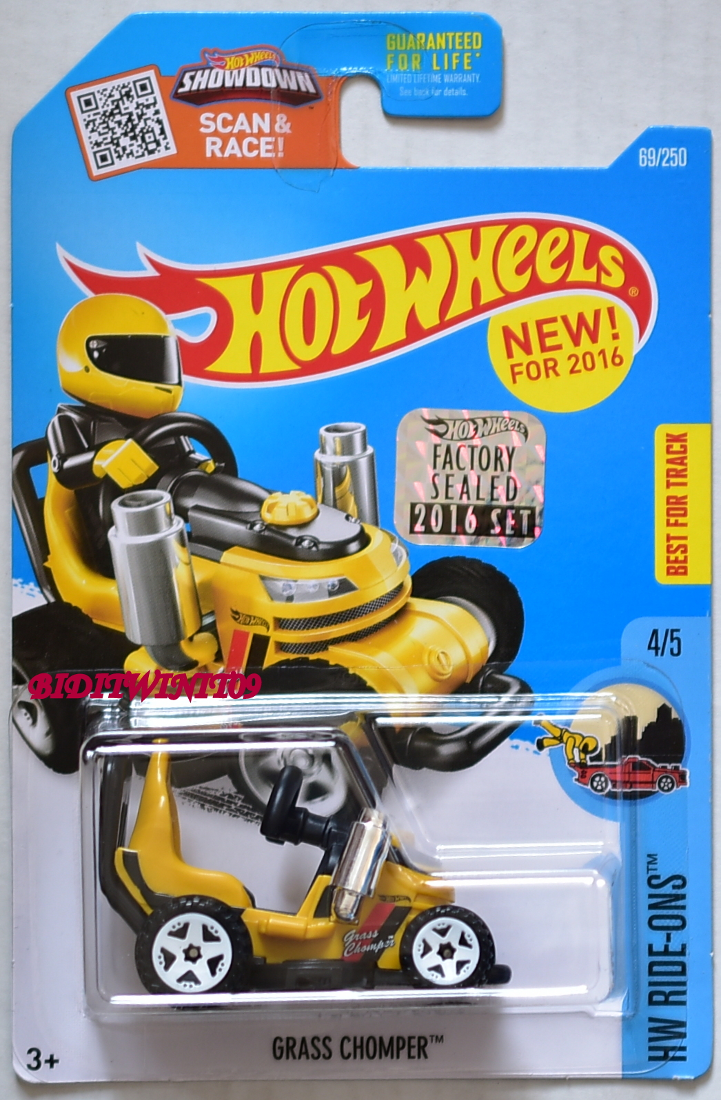 HOT WHEELS 2016 HW RIDE-ONS GRASS CHOMPER #4/5 YELLOW FACTORY SEALED