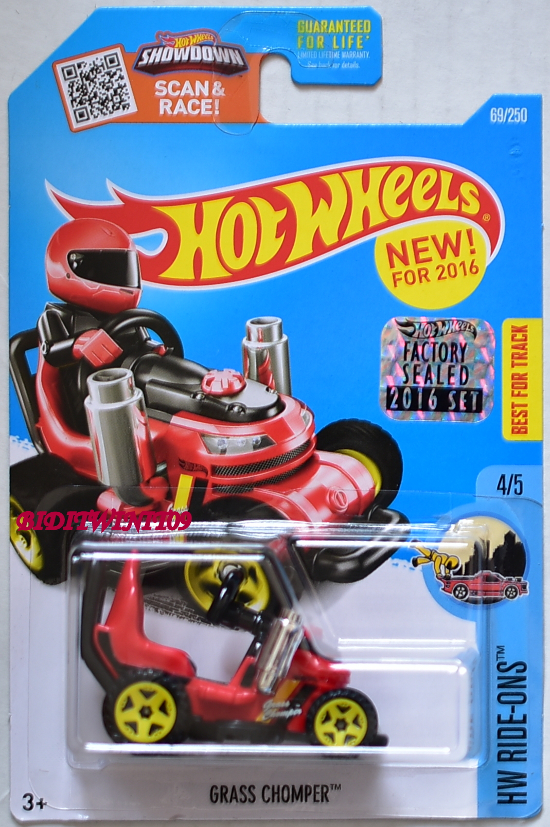 HOT WHEELS 2016 HW RIDE-ONS GRASS CHOMPER #4/5 RED FACTORY SEALED