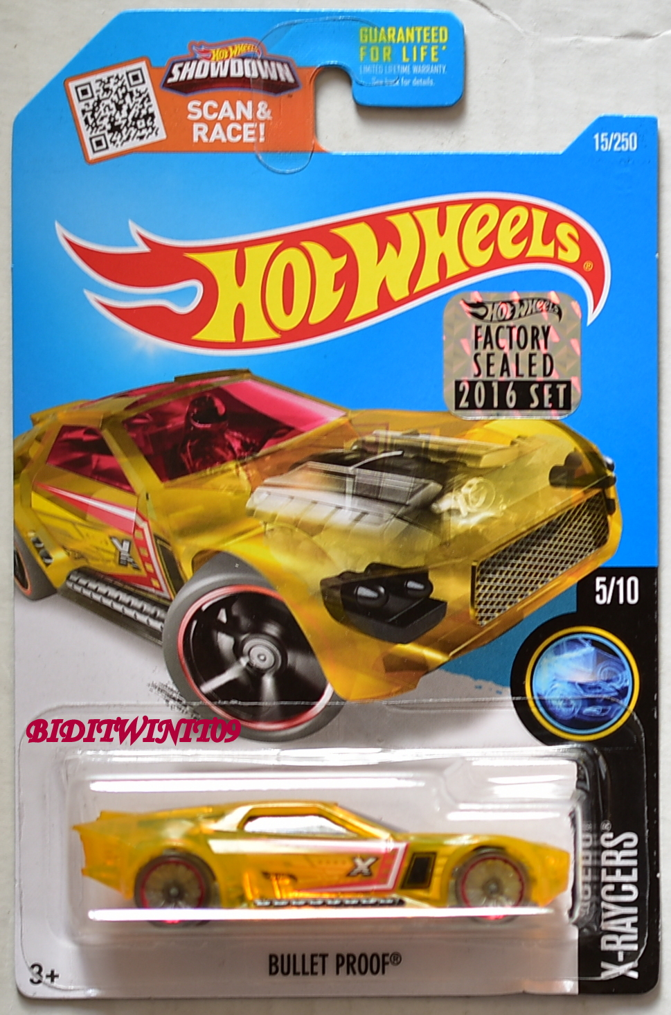 HOT WHEELS 2016 X-RAYCERS BULLET PROOF #5/10 GOLD FACTORY SEALED