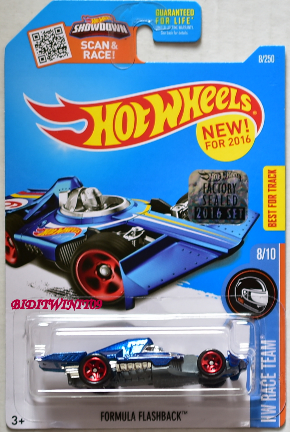 HOT WHEELS 2016 HW RACE TEAM FORMULA FLASHBACK BLUE FACTORY SEALED E+