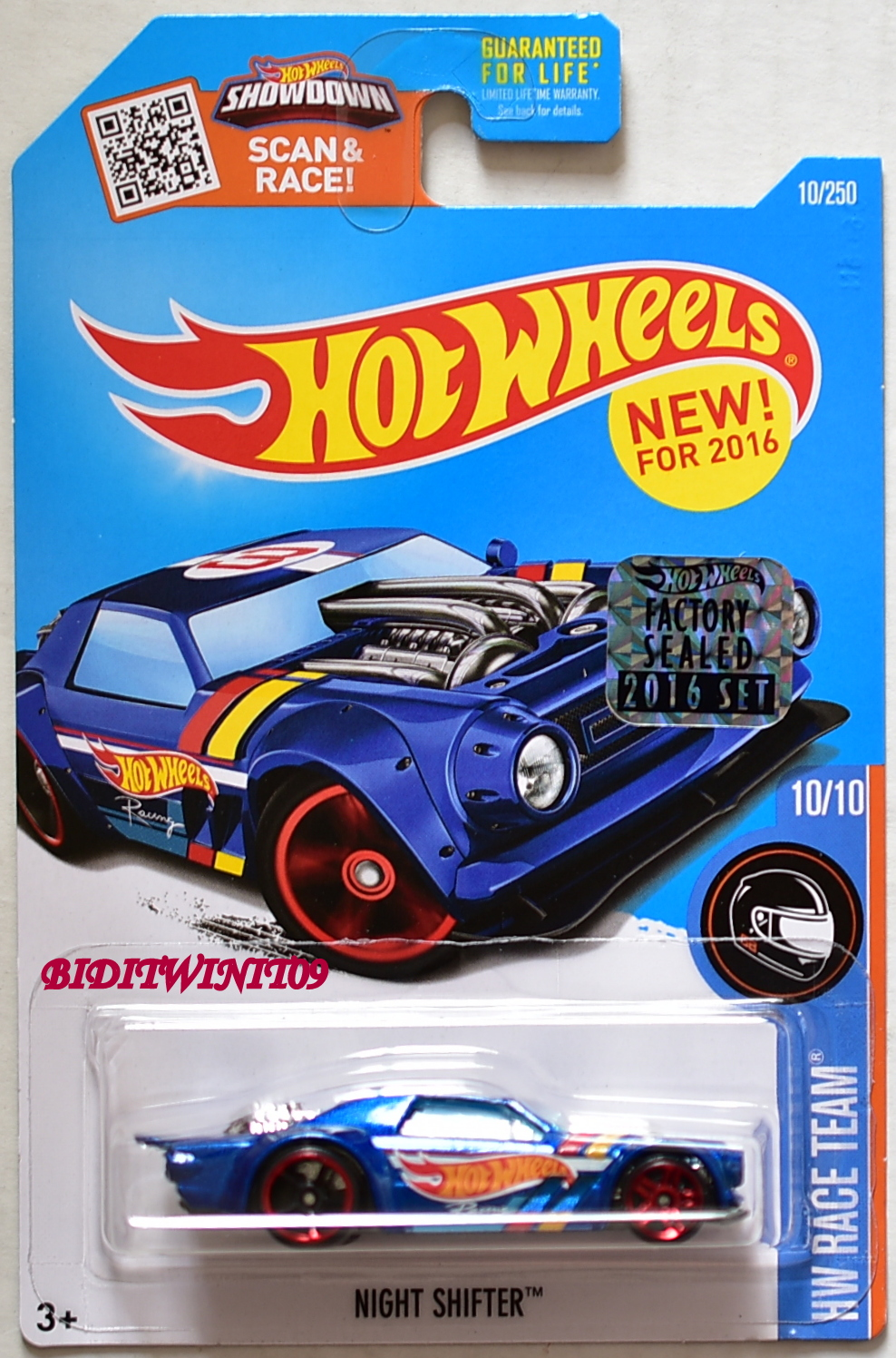 HOT WHEELS 2016 HW RACE TEAM NIGHT SHIFTER BLUE FACTORY SEALED E+