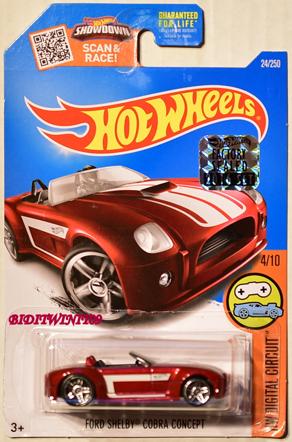 HOT WHEELS 2016 HW DIGITAL CIRCUIT FORD SHELBY COBRA CONCEPT RED FACTORY SEALED