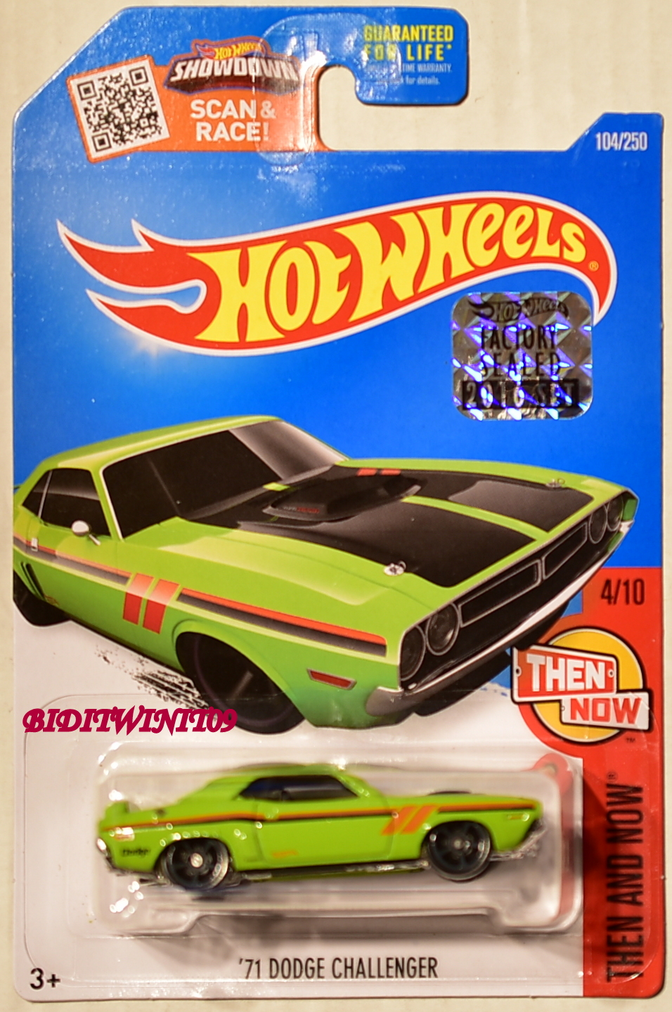 HOT WHEELS 2016 THEN AND NOW '71 DODGE CHALLENGER #4/10 GREEN FACTORY SEALED