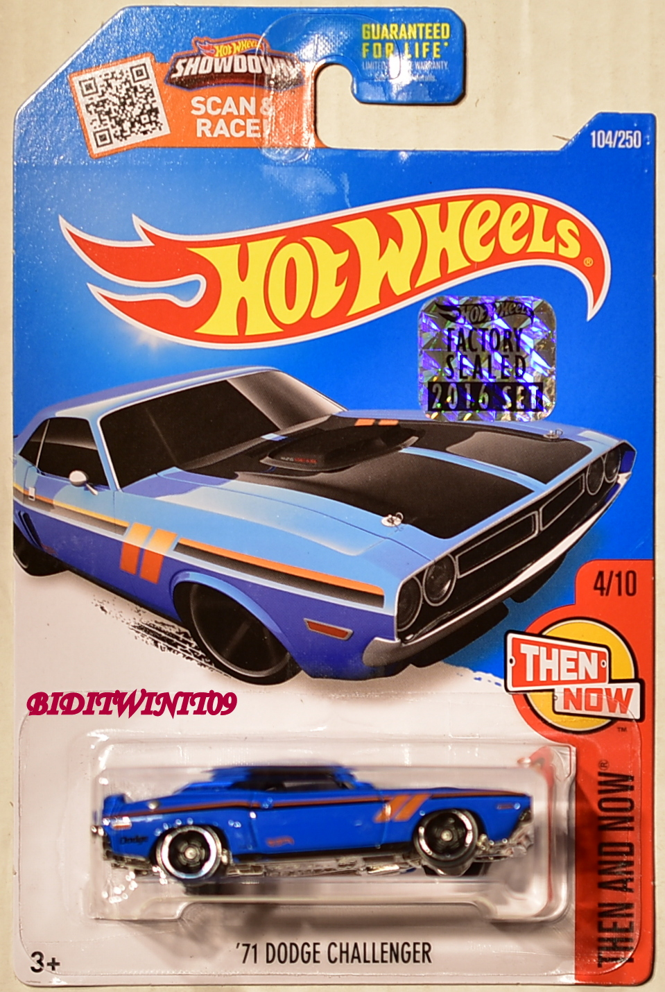 HOT WHEELS 2016 THEN AND NOW '71 DODGE CHALLENGER #4/10 BLUE FACTORY SEALED