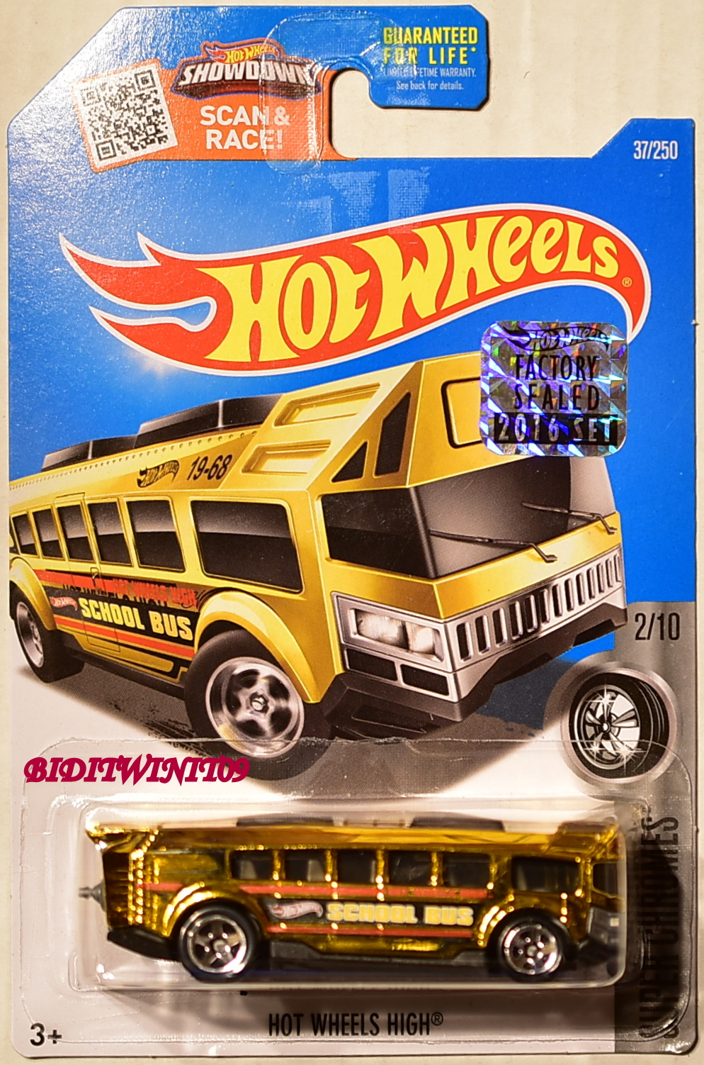 HOT WHEELS 2016 SUPER CHROMES HOT WHEELS HIGH SCHOOL BUS GOLD FACTORY SEALED
