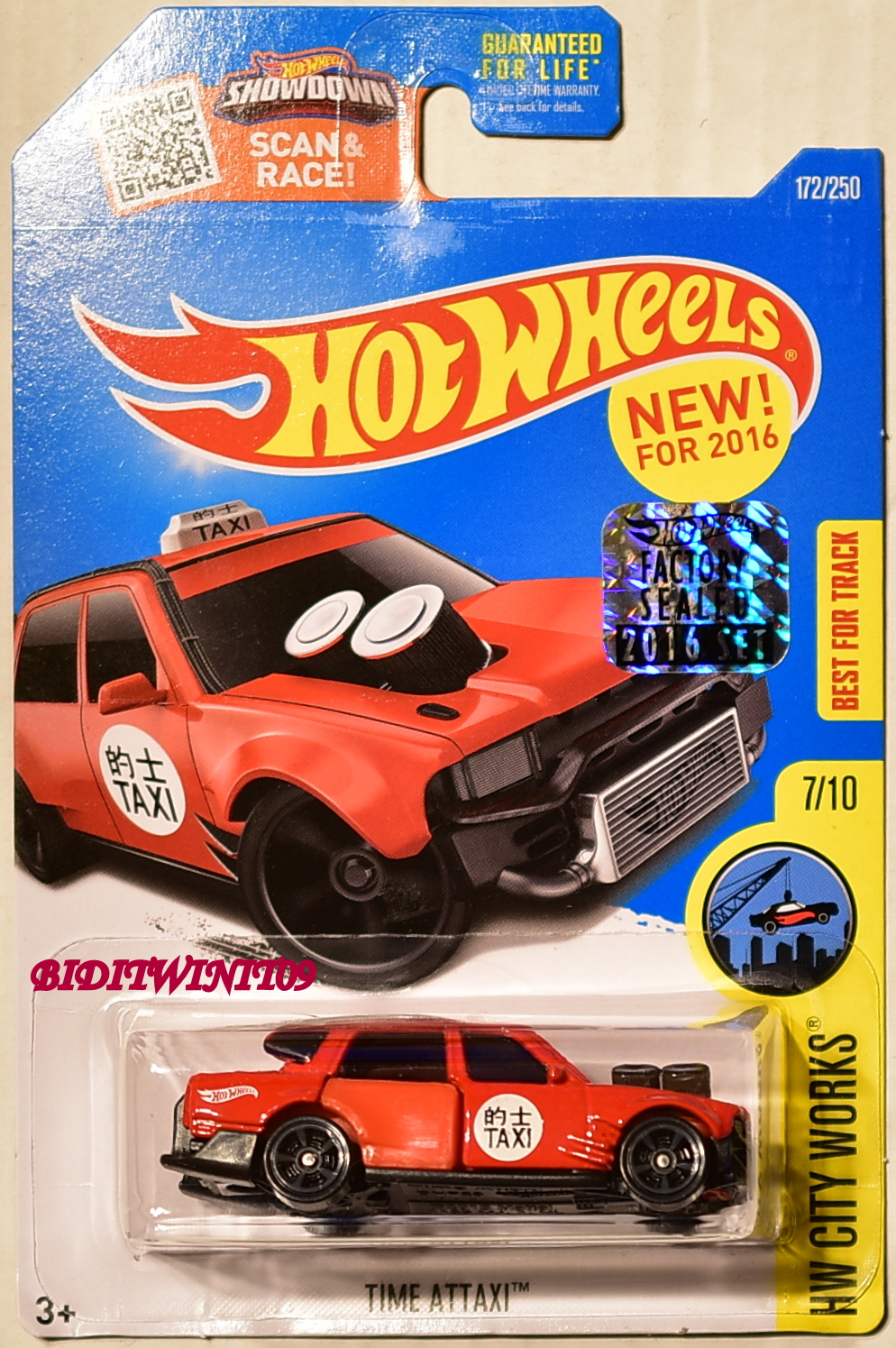 HOT WHEELS 2016 HW CITY WORKS TIME ATTAXI #7/10 RED FACTORY SEALED E+
