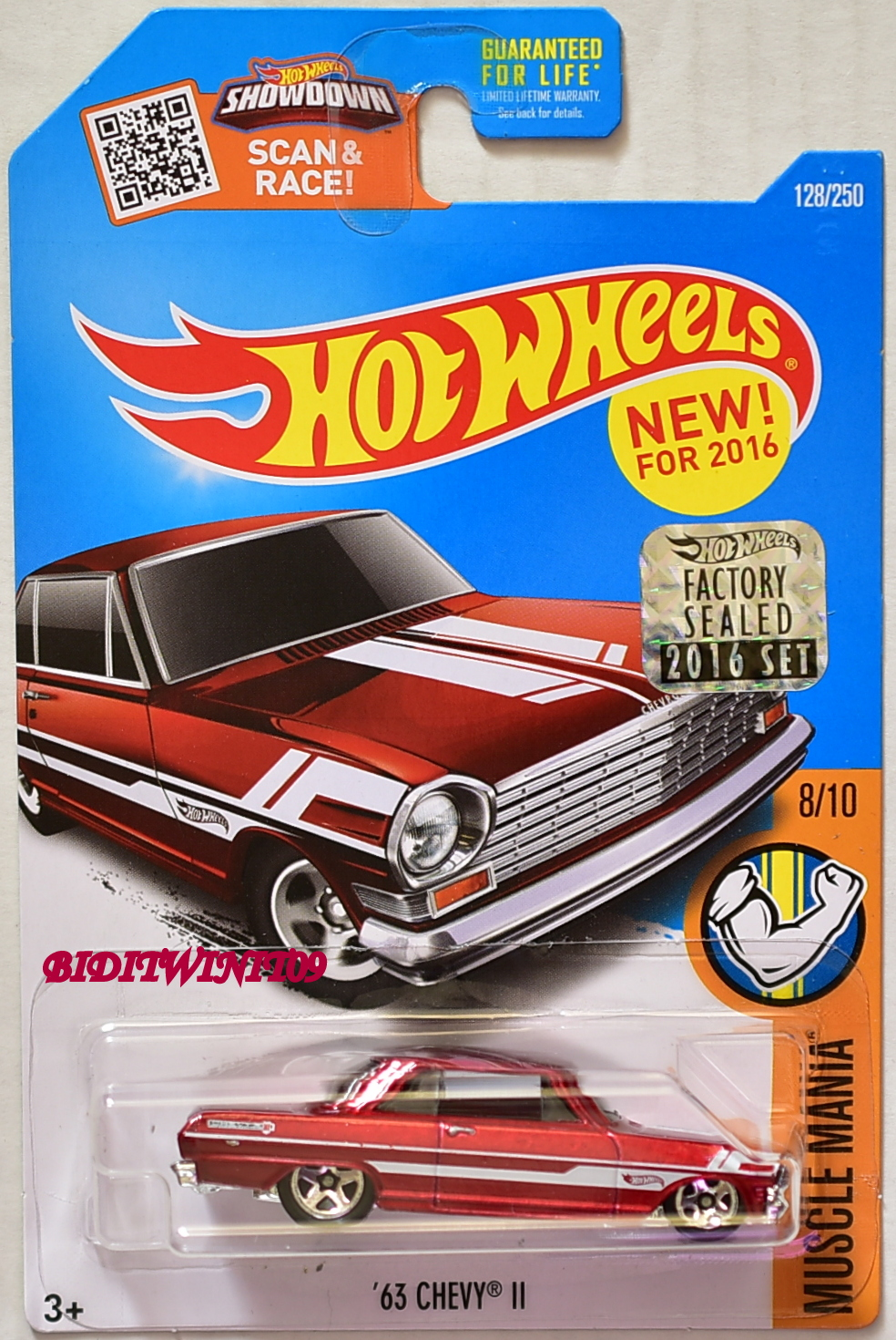 HOT WHEELS 2016 MUSCLE MANIA '63 CHEVY II #8/10 RED FACTORY SEALED
