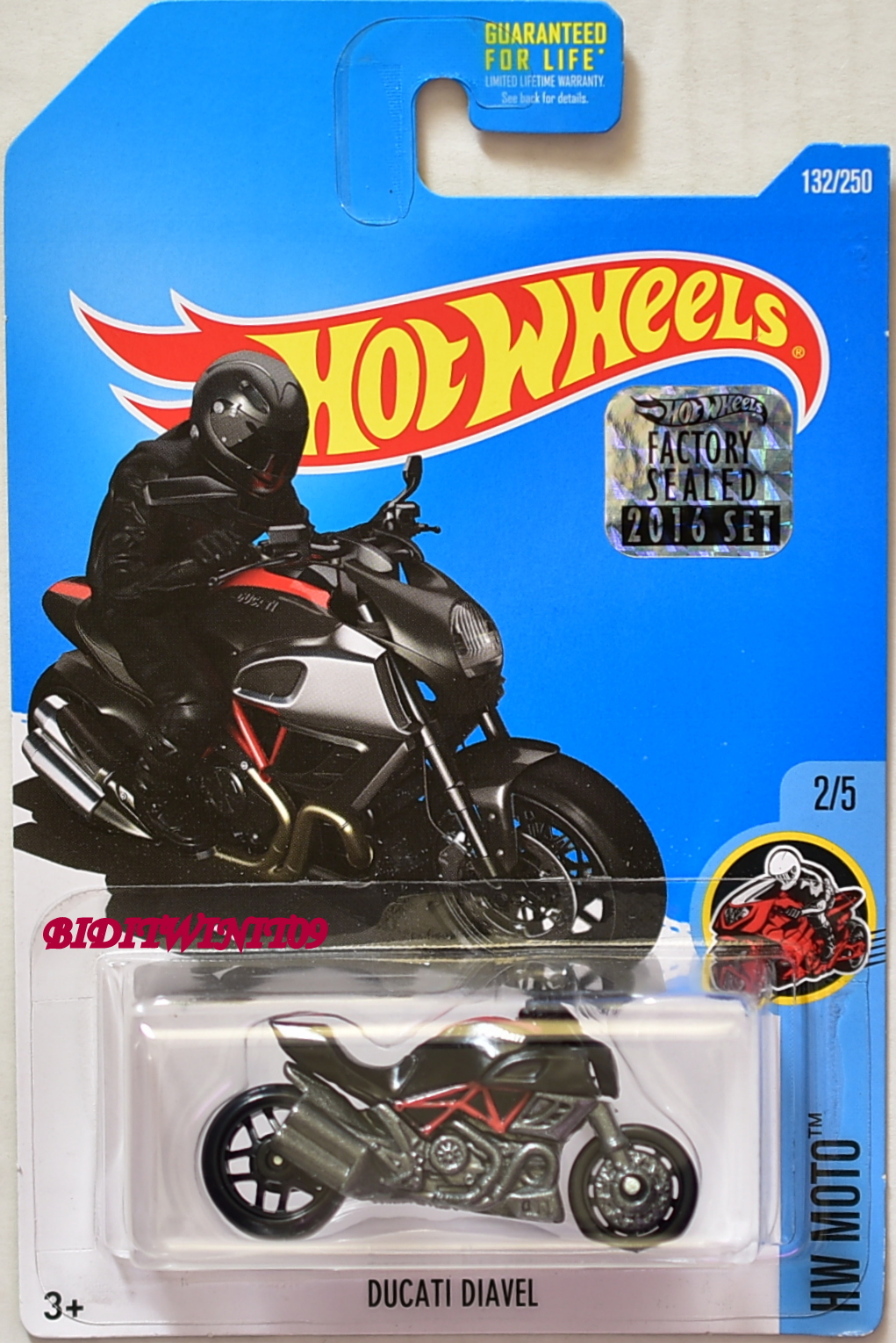 HOT WHEELS 2016 HW MOTO DUCATI DIAVEL #2/5 BLACK FACTORY SEALED