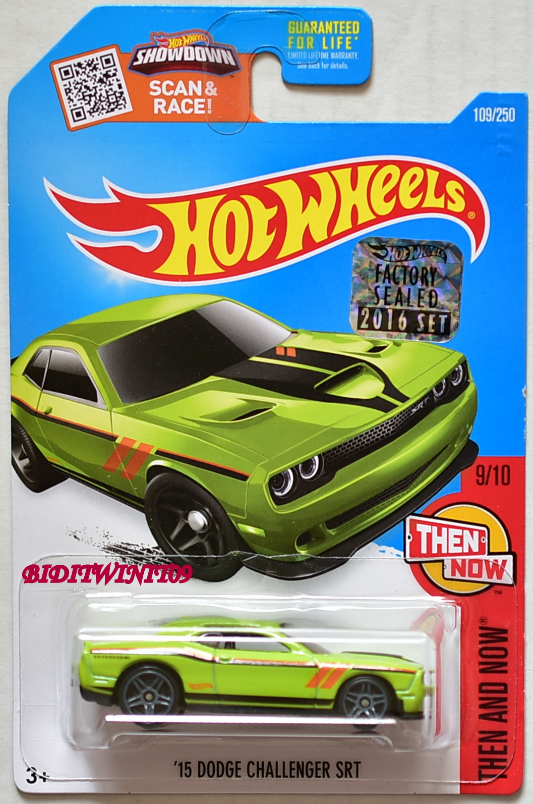 HOT WHEELS 2016 THEN AND NOW '15 DODGE CHALLENGER SRT GREEN FACTORY SEALED E+