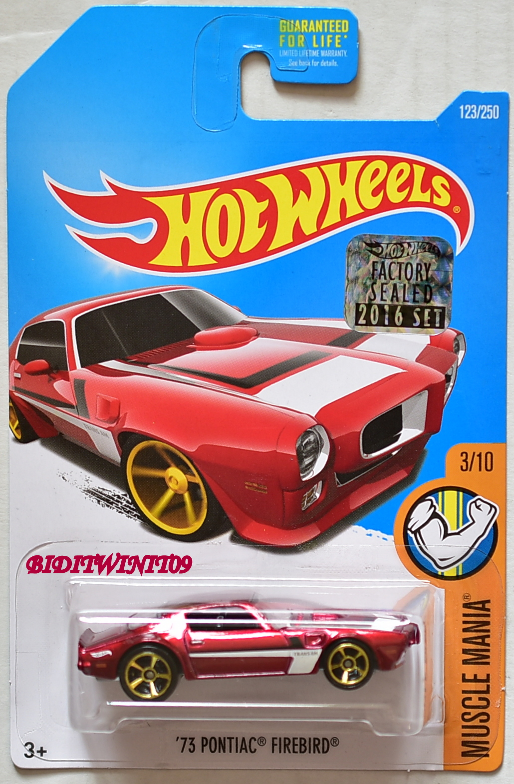 HOT WHEELS 2016 MUSCLE MANIA '73 PONTIAC FIREBIRD #3/10 RED FACTORY SEALED
