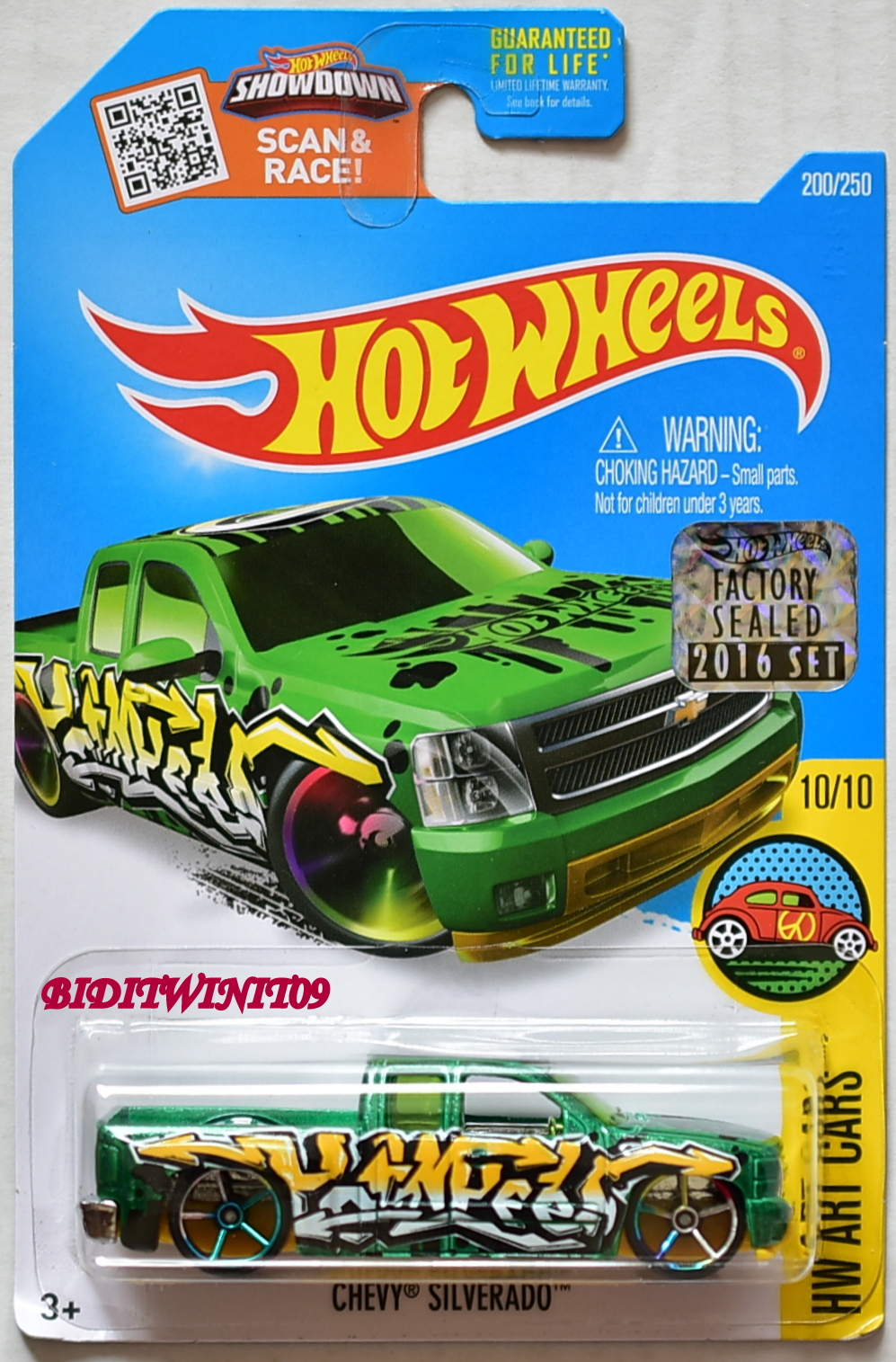 HOT WHEELS 2016 HW ART CARS CHEVY SILVERADO #10/10 GREEN FACTORY SEALED
