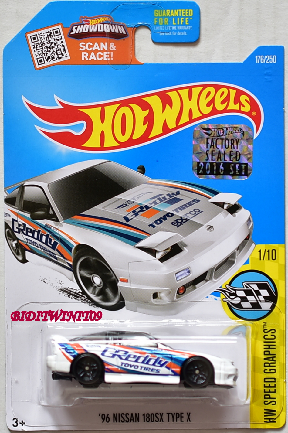 HOT WHEELS 2016 HW SPEED GRAPHICS '96 NISSAN 180SX TYPE X WHITE FACTORY SEALED