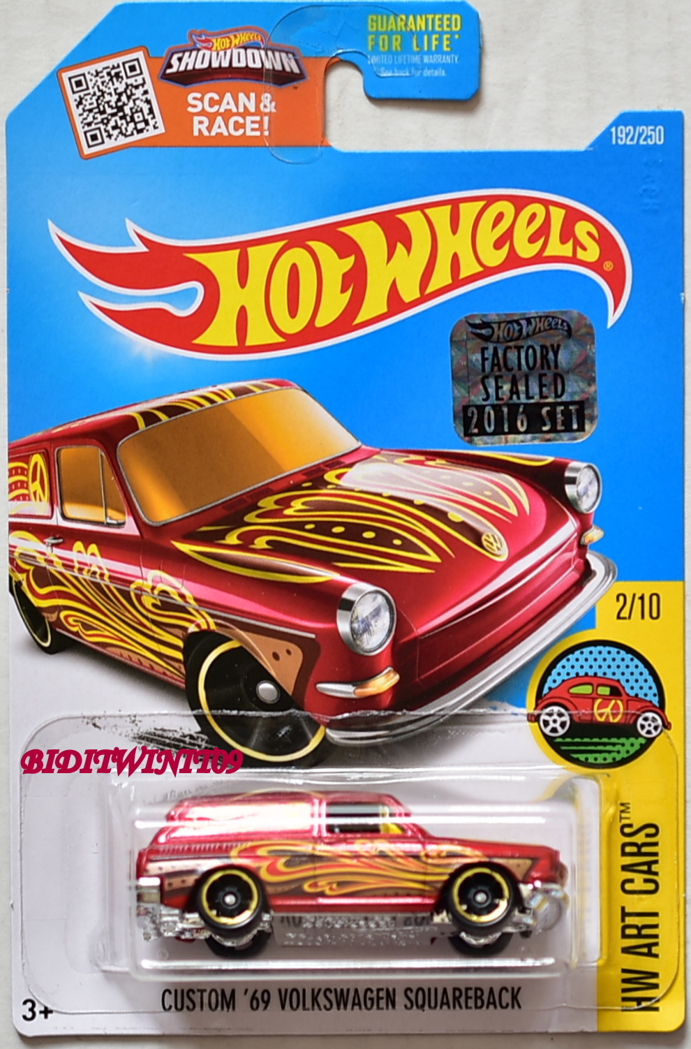 HOT WHEELS 2016 ART CARS CUSTOM '69 VOLKSWAGEN SQUAREBACK RED FACTORY SEALED E+