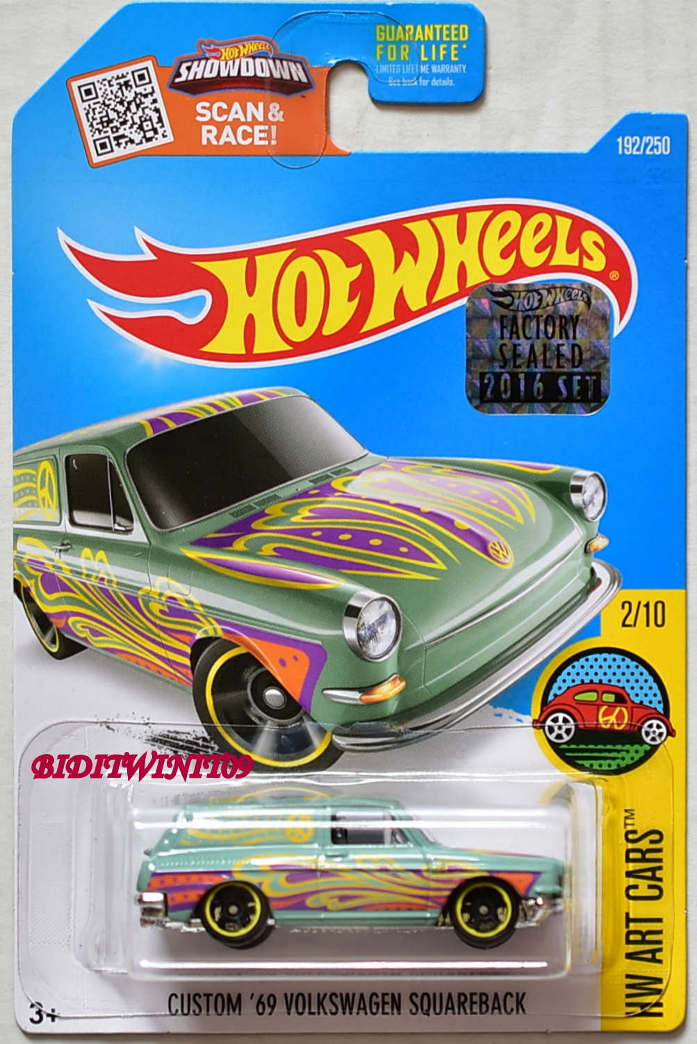 HOT WHEELS 2016 HW ART CARS CUSTOM '69 VOLKSWAGEN SQUAREBACK FACTORY SEALED E+