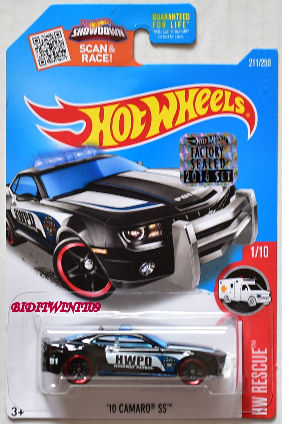 HOT WHEELS 2016 HW RESCUE '10 CAMARO SS #1/10 BLACK FACTORY SEALED