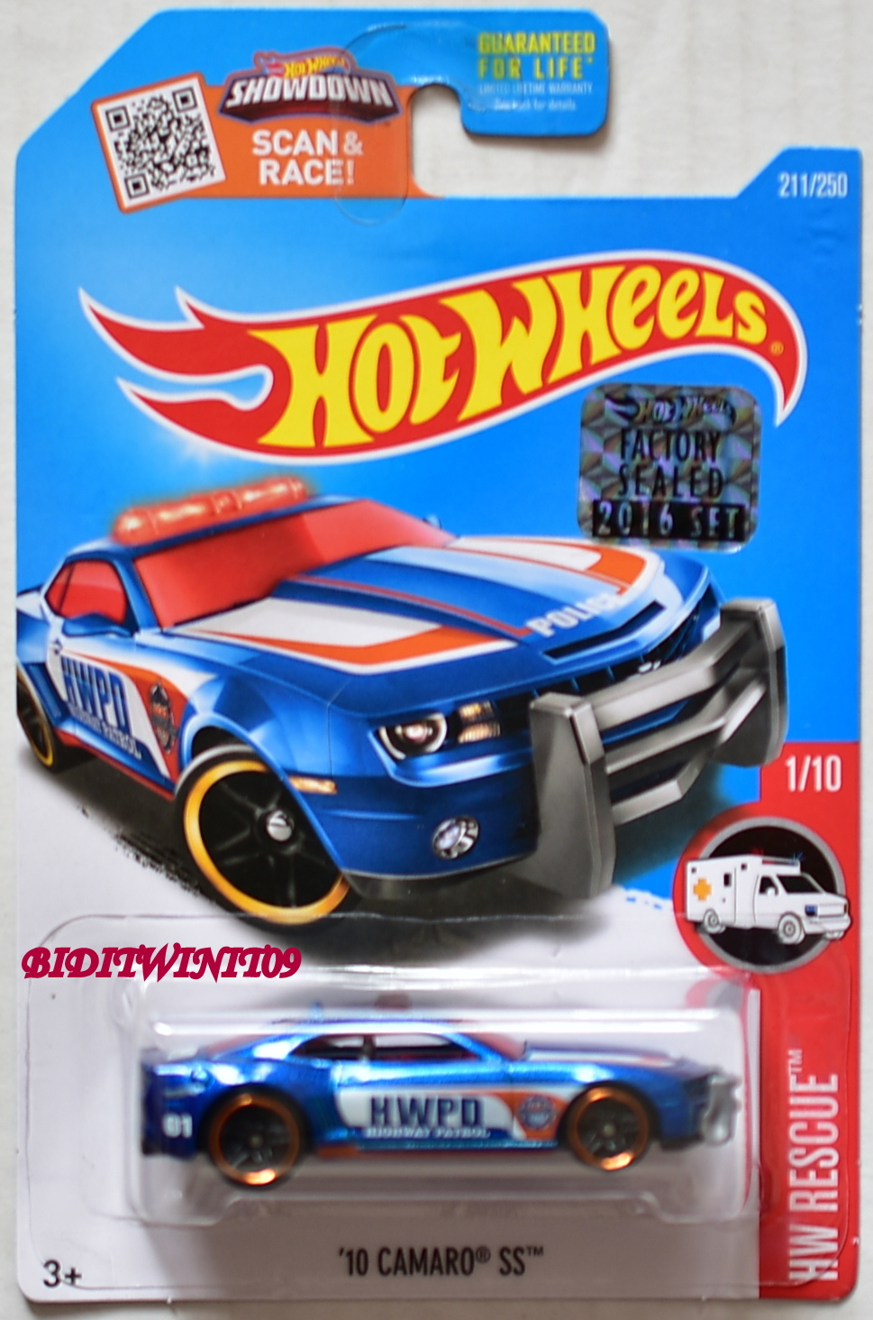 HOT WHEELS 2016 HW RESCUE '10 CAMARO SS #1/10 BLUE FACTORY SEALED