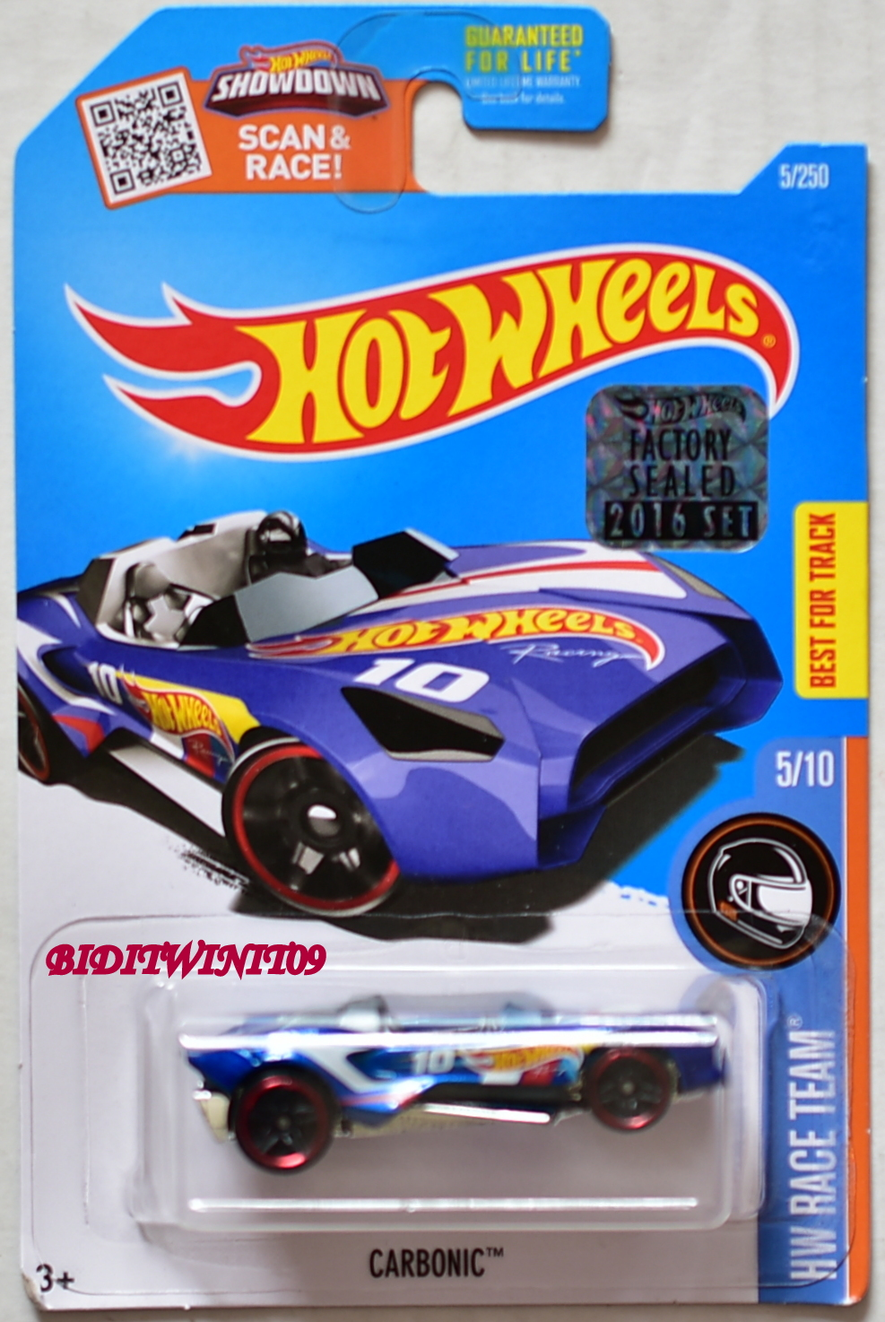 HOT WHEELS 2016 HW RACE TEAM CARBONIC #5/10 BLUE FACTORY SEALED E+